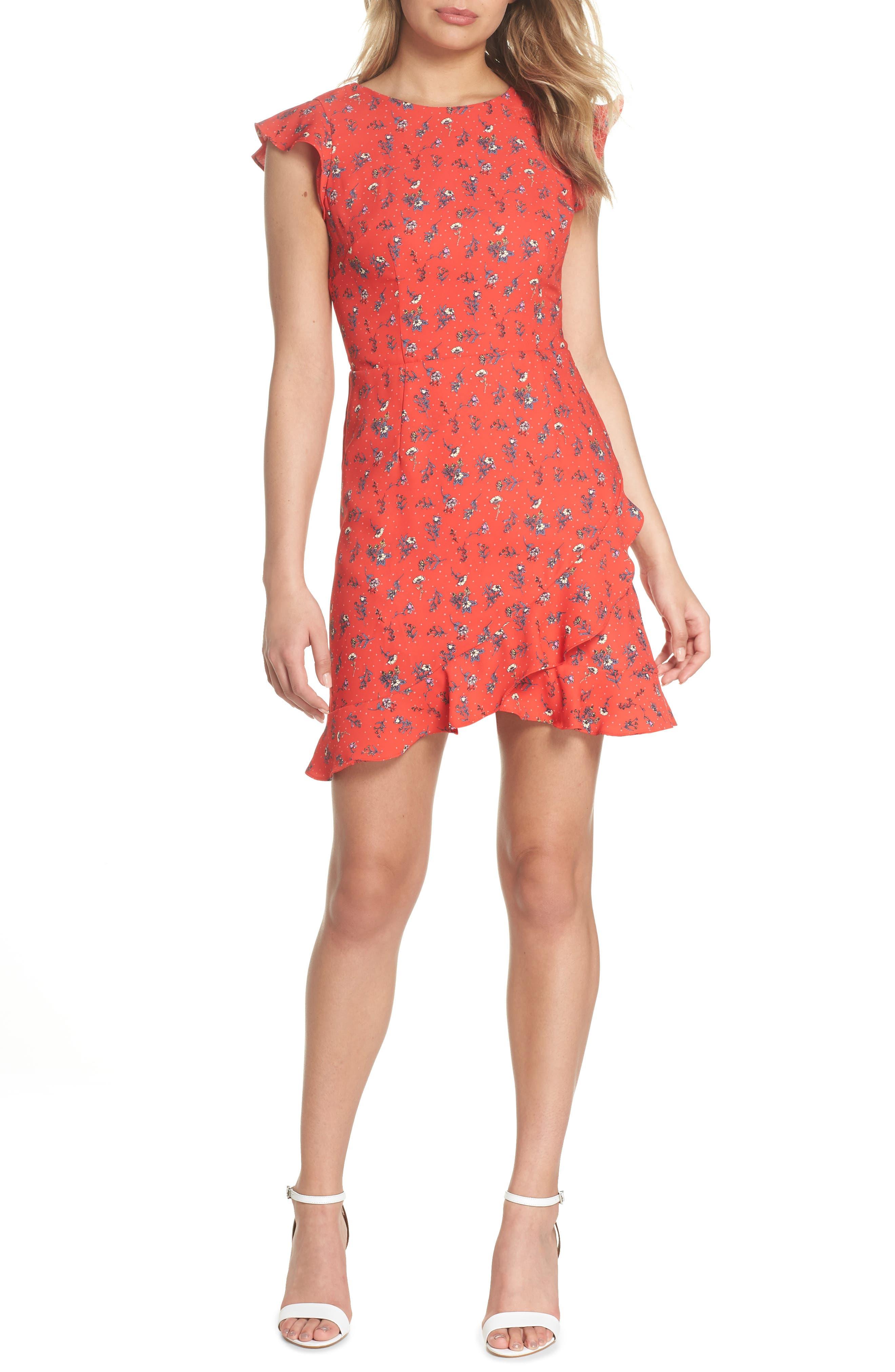 Flutter Sleeve Ruffle Hem Dress,                             Main thumbnail 1, color,                             Red Floral Print