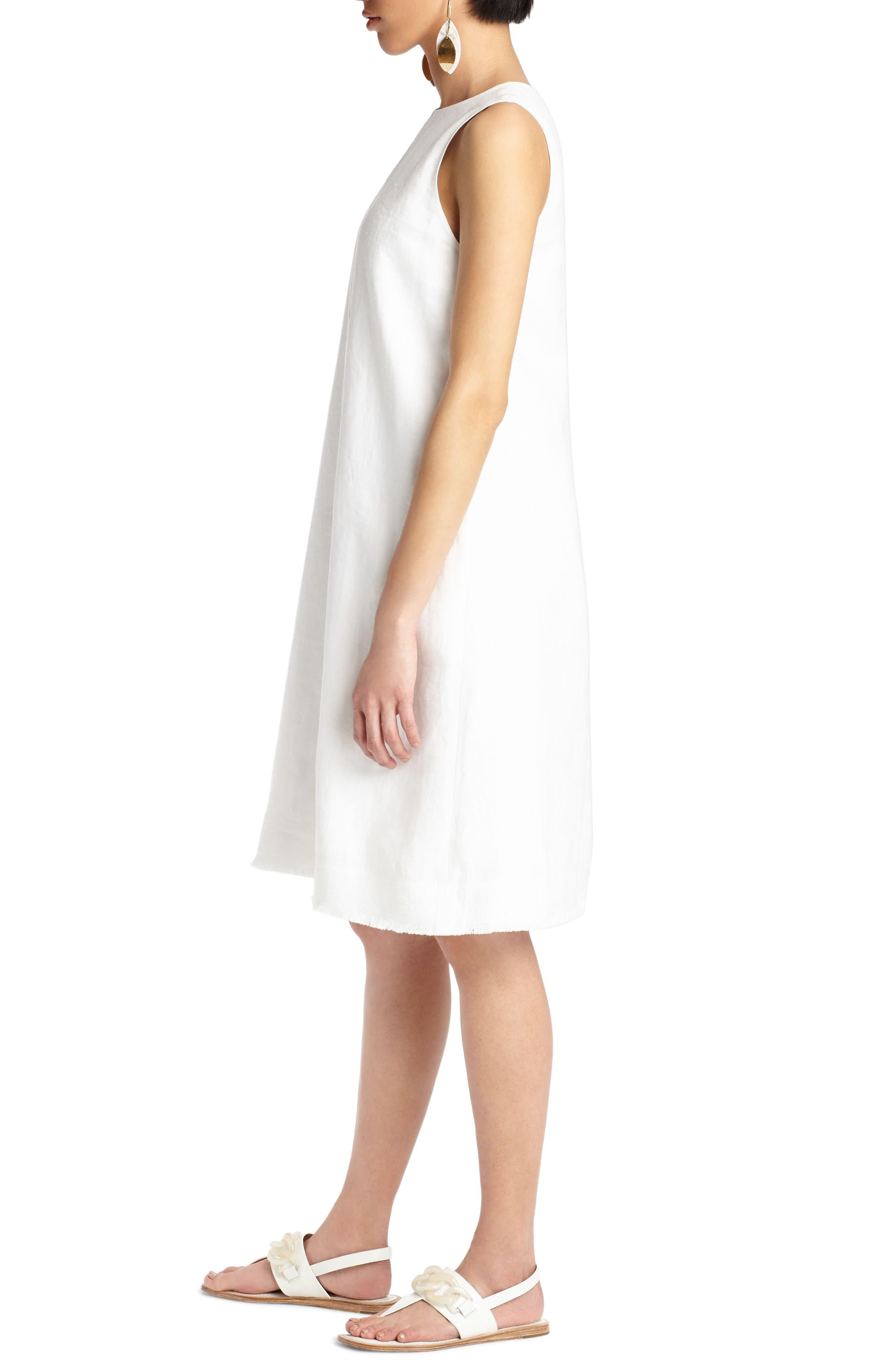 Hana Linen Dress,                             Alternate thumbnail 3, color,                             White