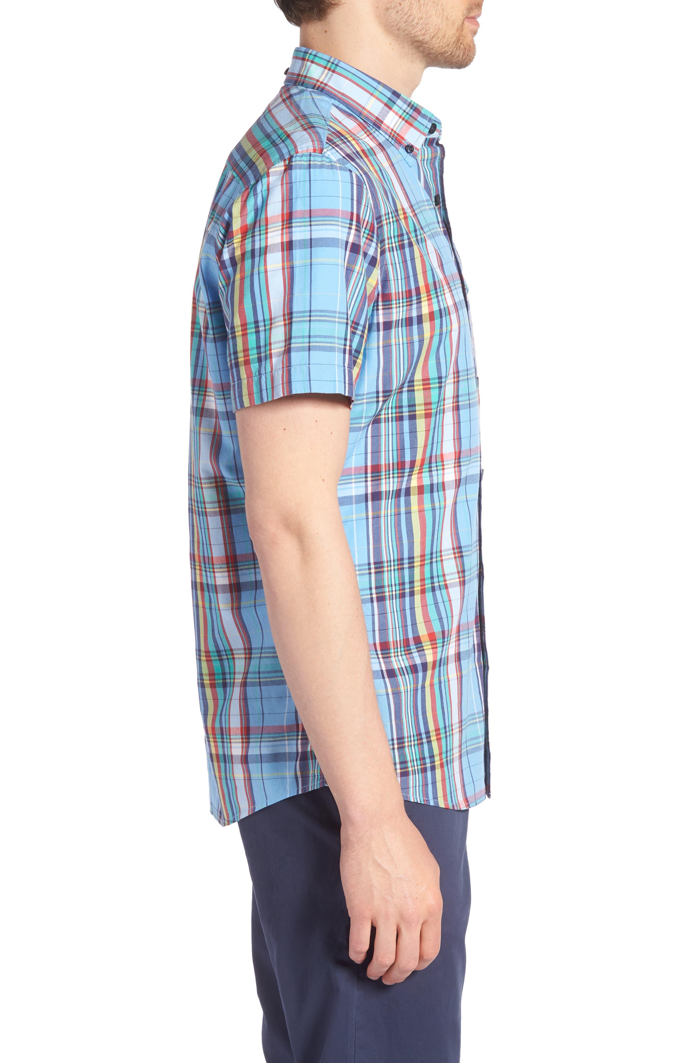 Ivy Trim Fit Madras Plaid Sport Shirt,                             Alternate thumbnail 4, color,                             Blue Chambray Multi Plaid