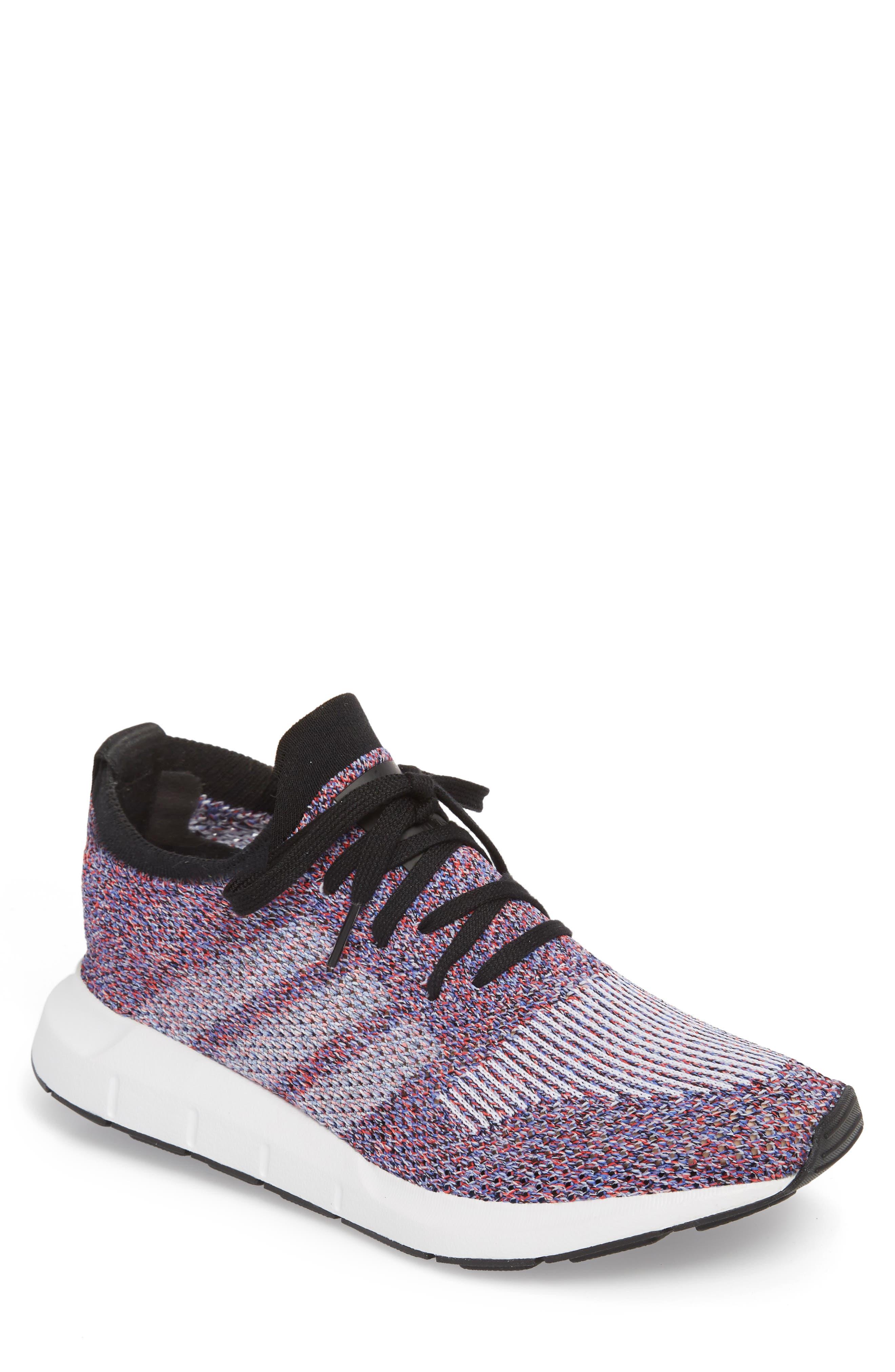 Swift Run Primeknit Sneaker,                             Main thumbnail 1, color,                             White/ Purple/ Black