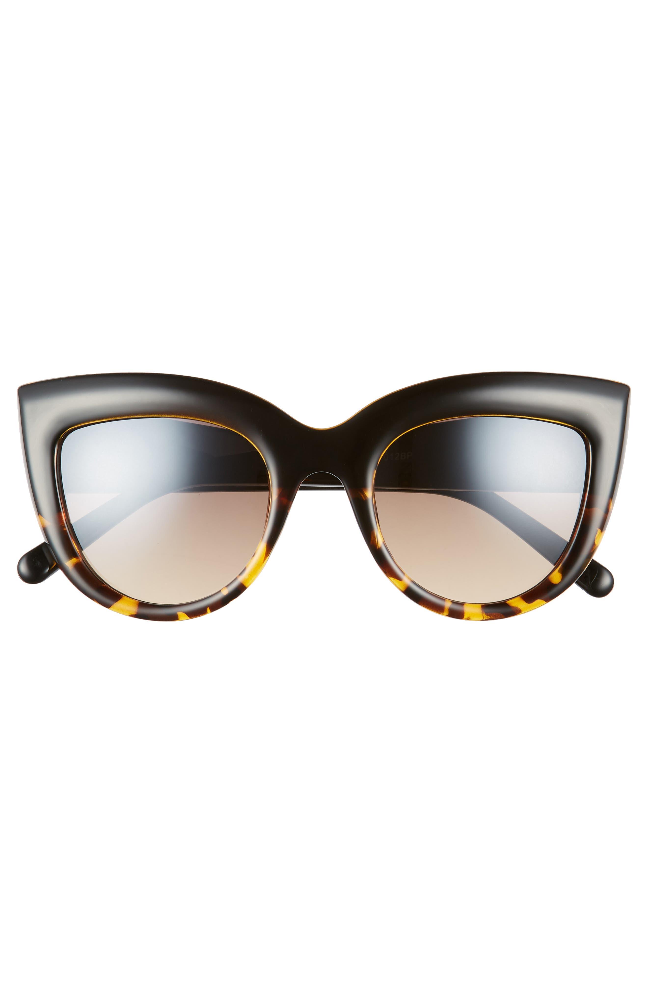 60mm Two-Tone Cat Eye Sunglasses,                             Alternate thumbnail 3, color,                             Black/ Tort