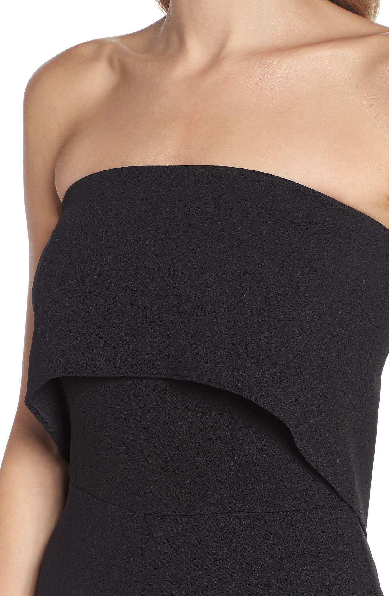 Strapless Culotte Jumpsuit,                             Alternate thumbnail 4, color,                             Black