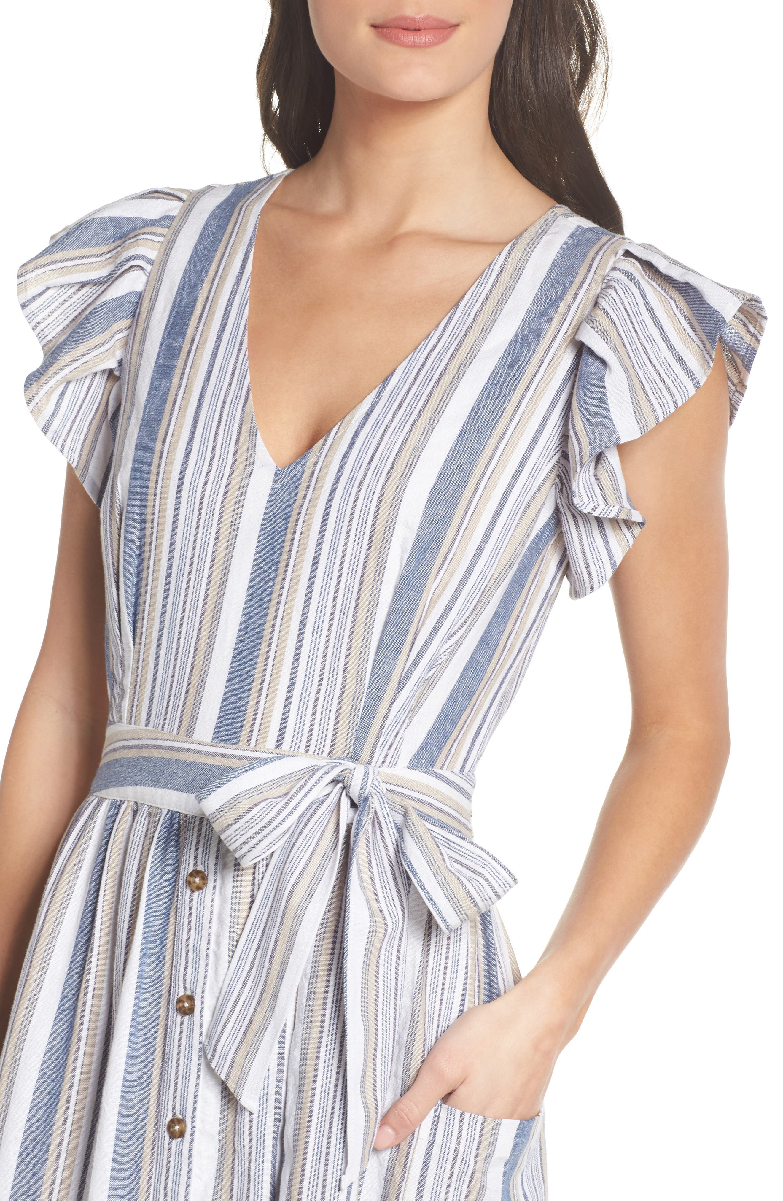 Stripe Button Front Fit & Flare Midi Dress,                             Alternate thumbnail 4, color,                             Blue Multi