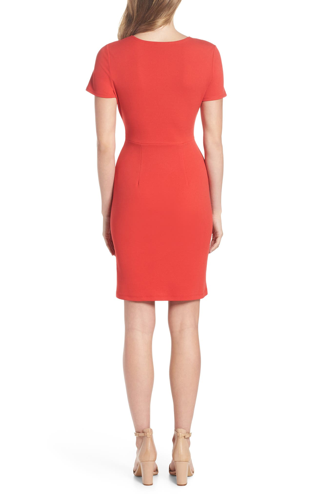 Tie Front Sheath Dress,                             Alternate thumbnail 2, color,                             Coral
