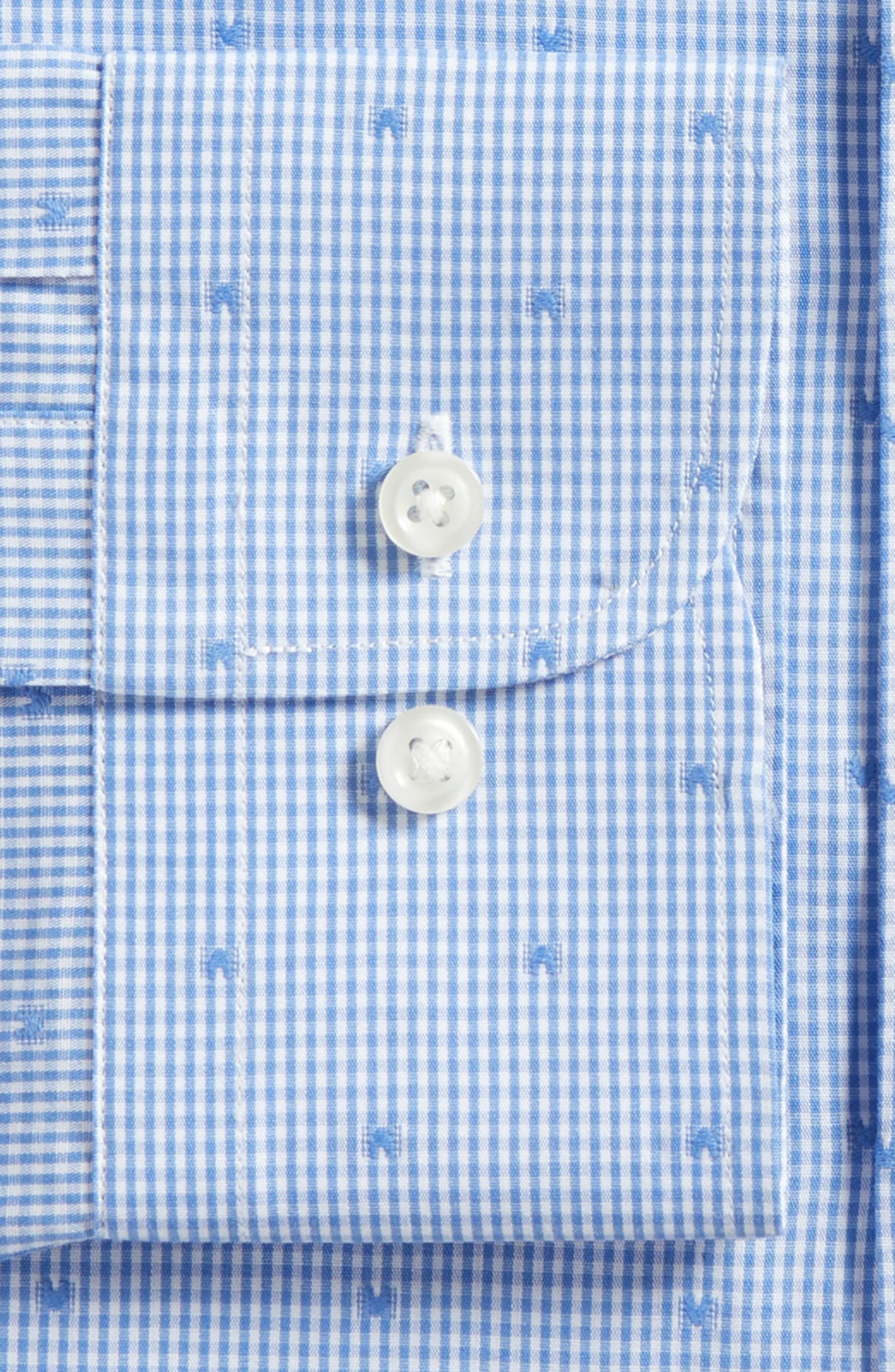 Trim Fit Check Dress Shirt,                             Alternate thumbnail 5, color,                             Blue Yonder