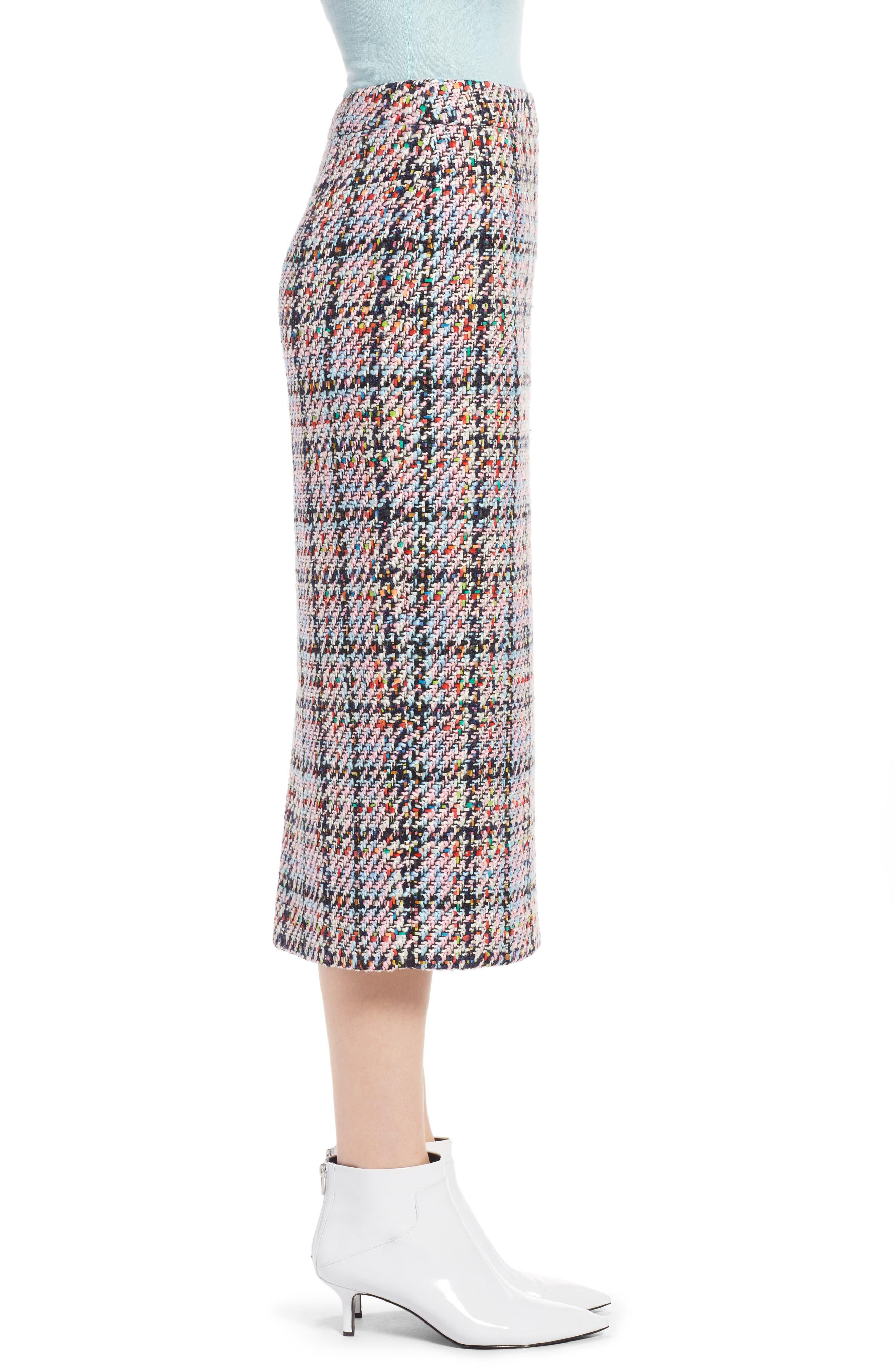 Tweed Midi Skirt,                             Alternate thumbnail 3, color,                             Pink Multi Tweed