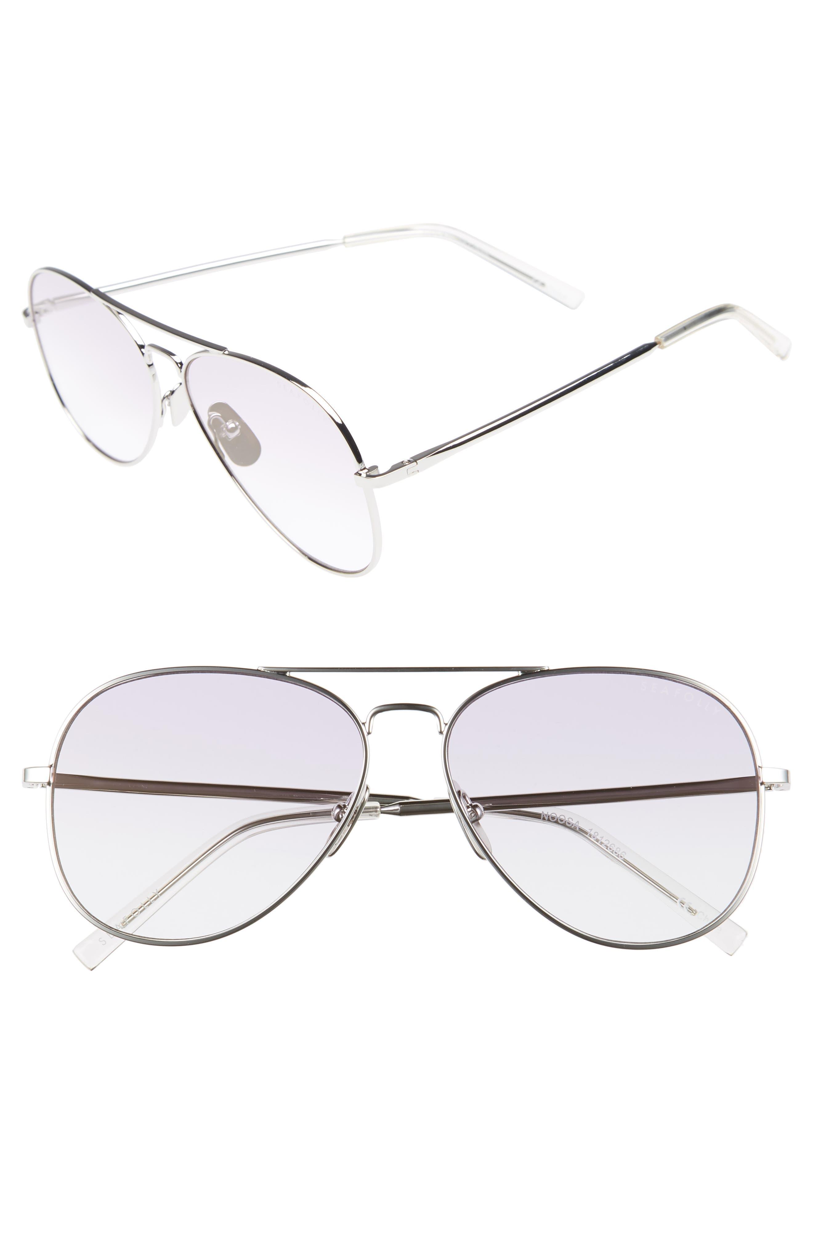 Noosa 55mm Metal Aviator Sunglasses,                         Main,                         color, Silver