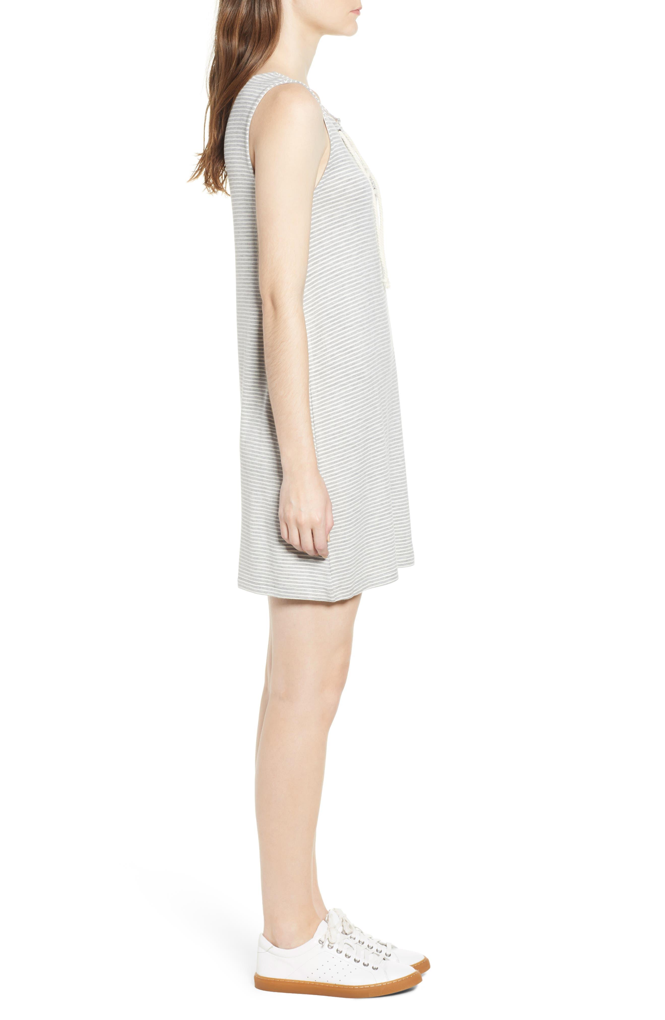 Dedrick Stripe Shift Dress,                             Alternate thumbnail 6, color,                             Light H. Grey