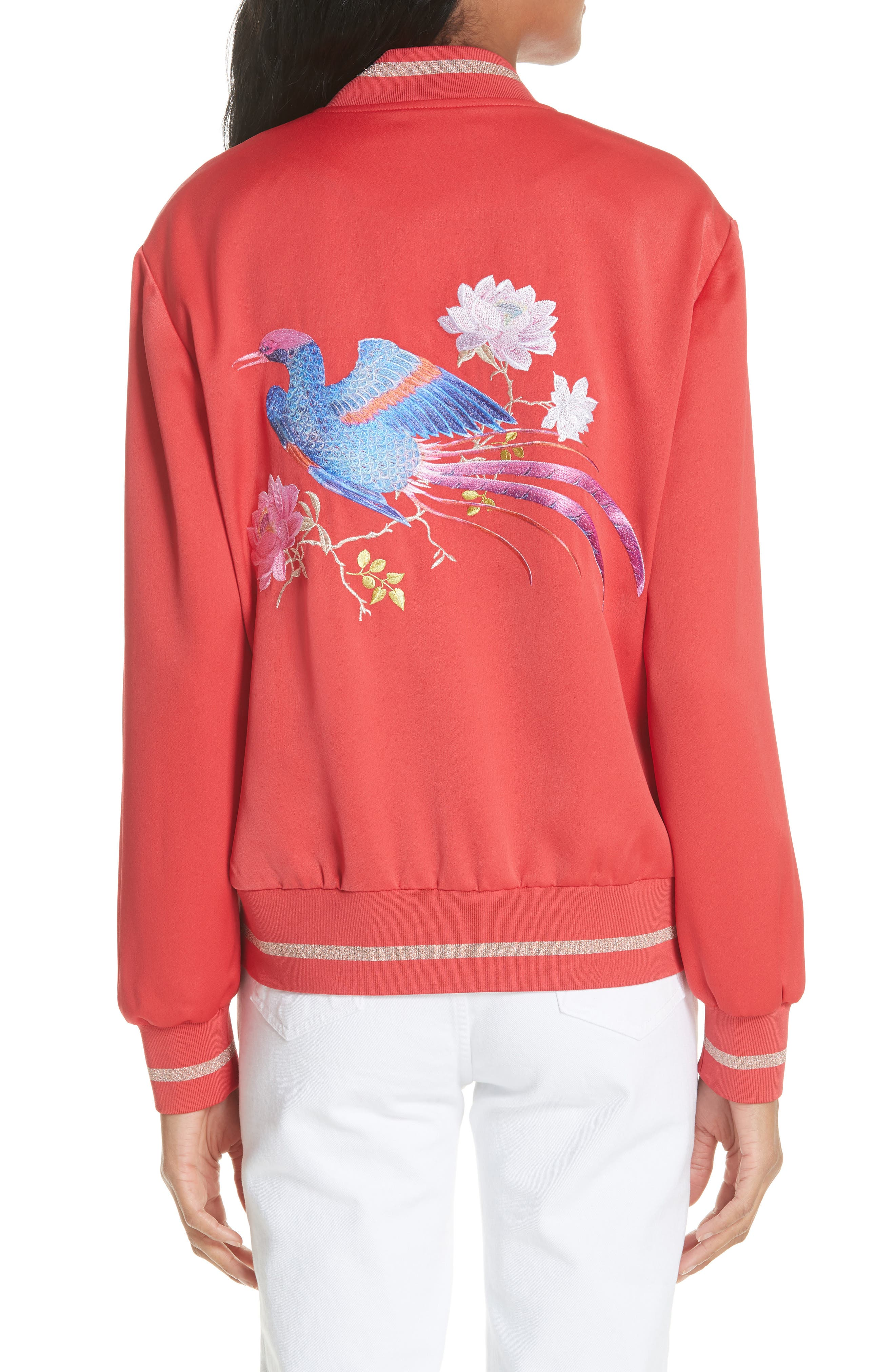 Ruuthe Chinoiserie Embroidery Jacket,                             Alternate thumbnail 2, color,                             Bright Red