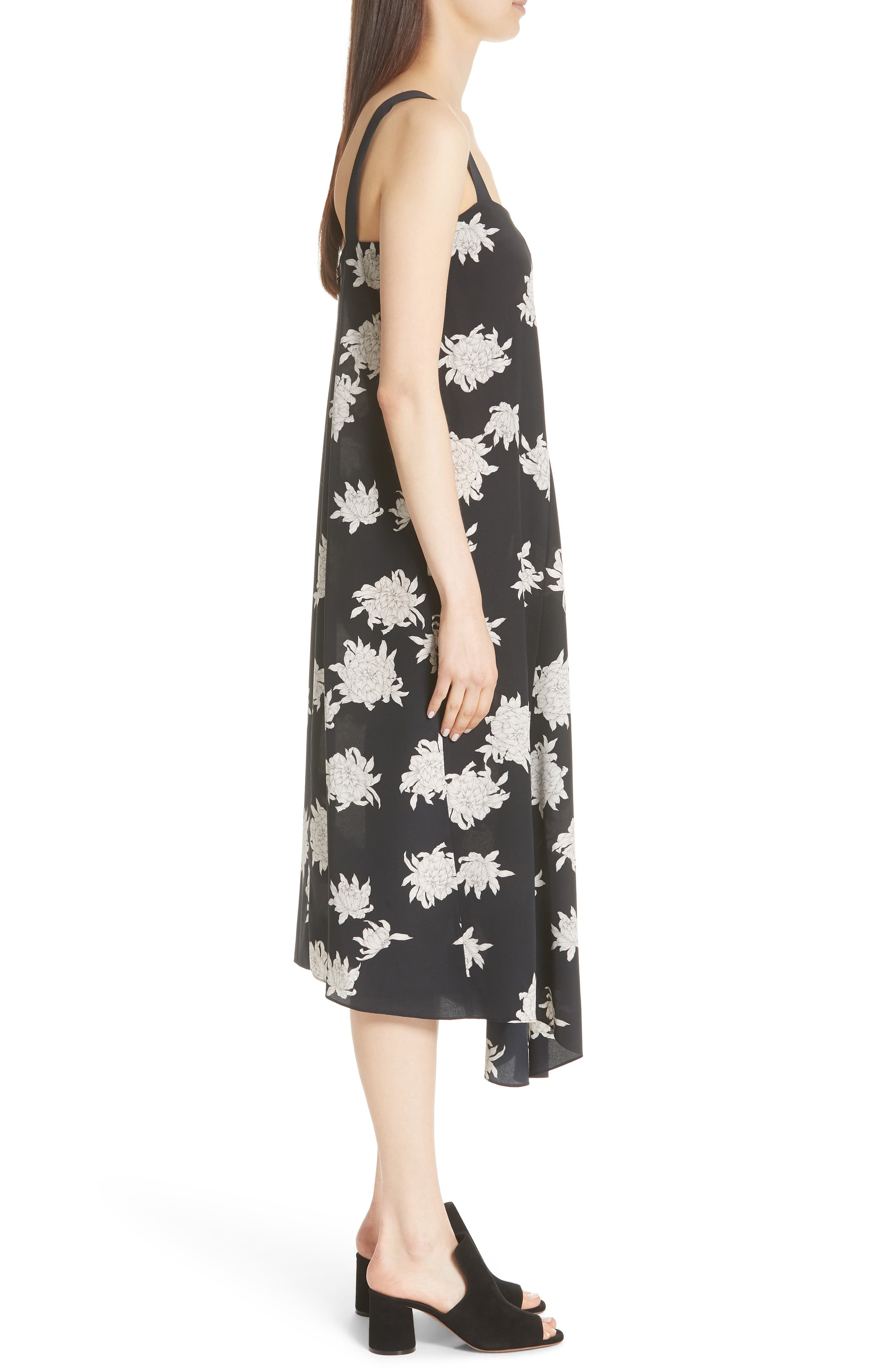 Chrysanthemum Print Silk Midi Dress,                             Alternate thumbnail 3, color,                             Coastal