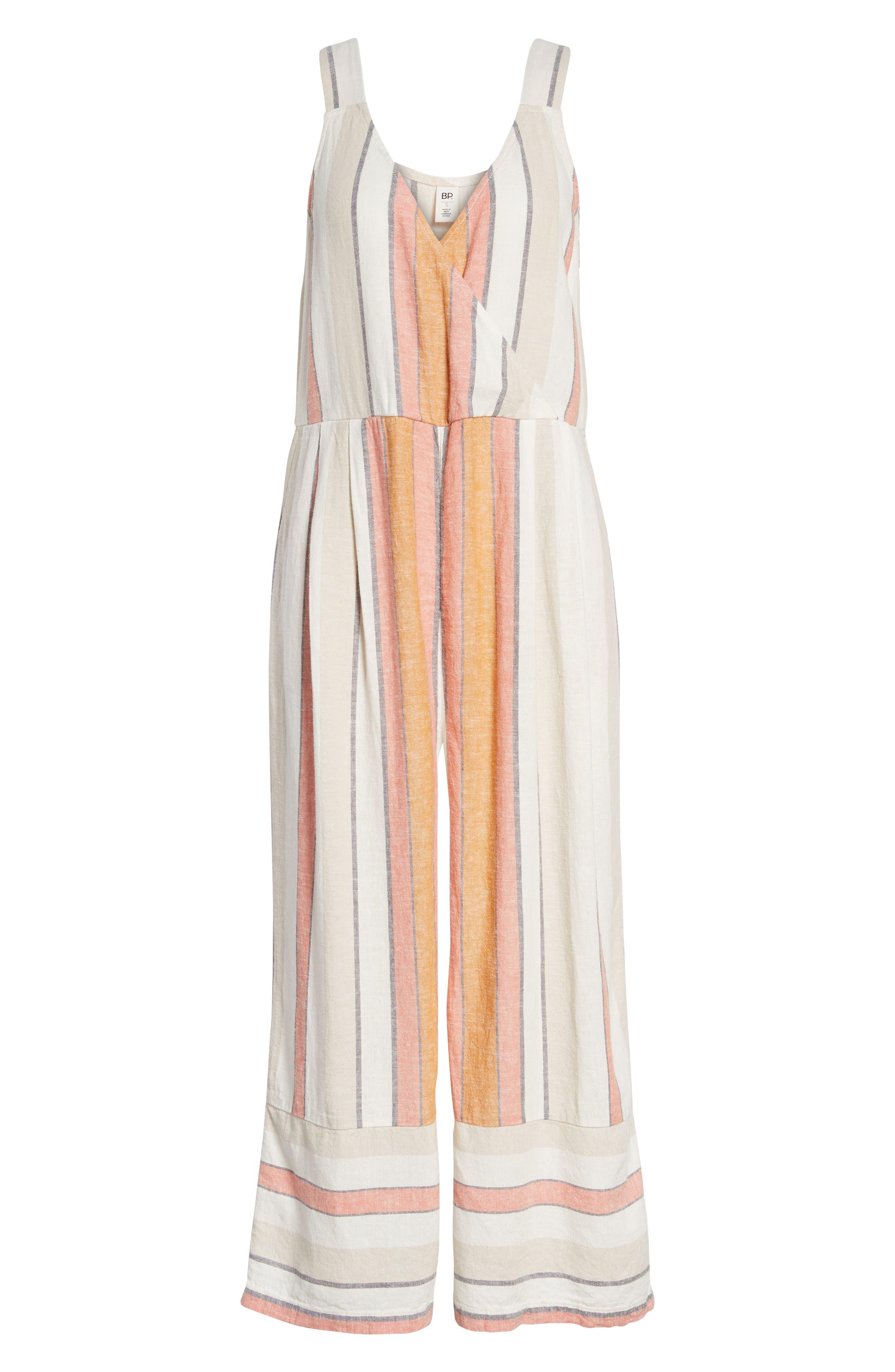 Stripe Surplice Jumpsuit,                             Alternate thumbnail 6, color,                             Ivy 70S Vertical Stripe