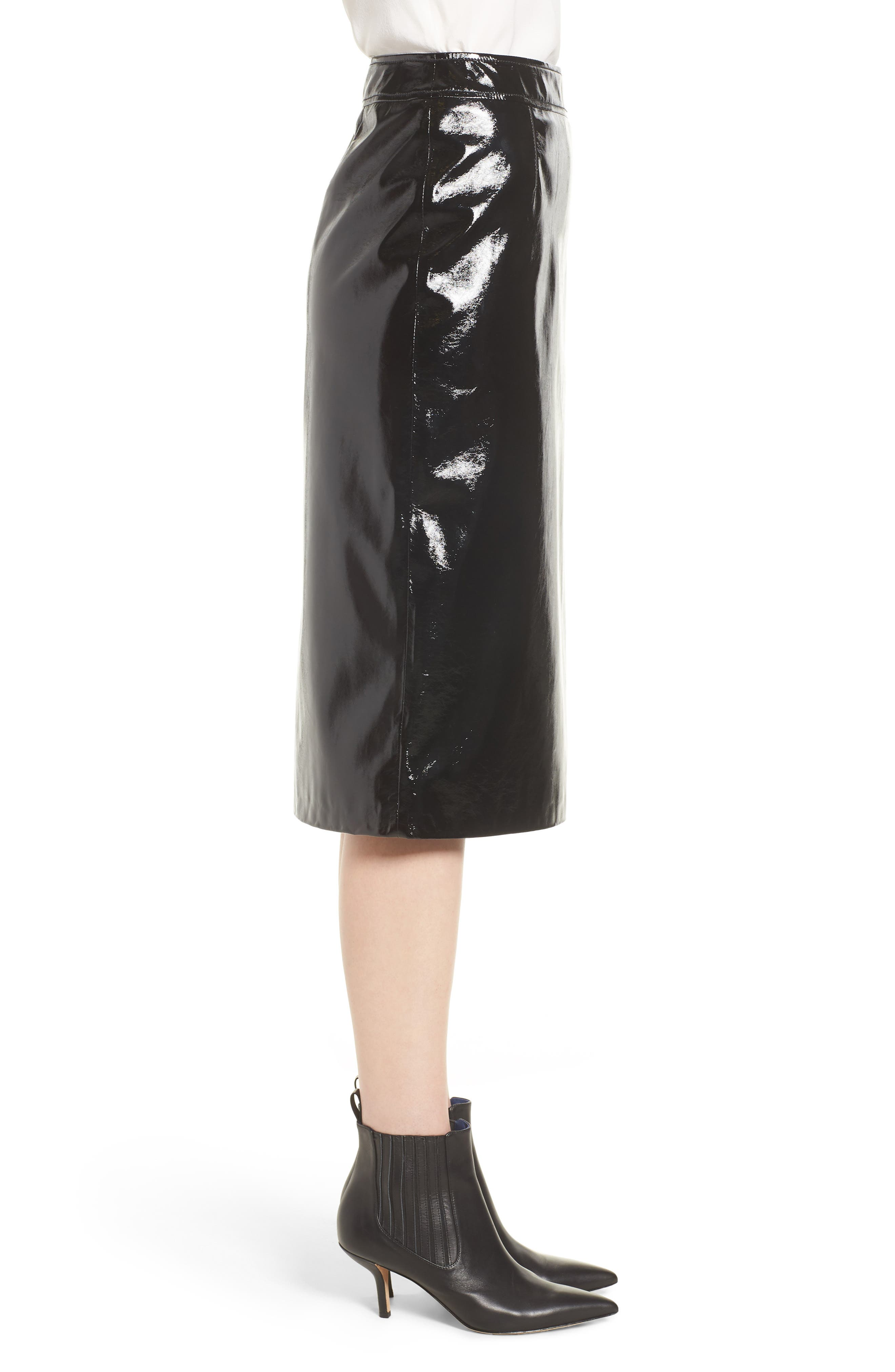 Patent Pencil Skirt,                             Alternate thumbnail 3, color,                             Black