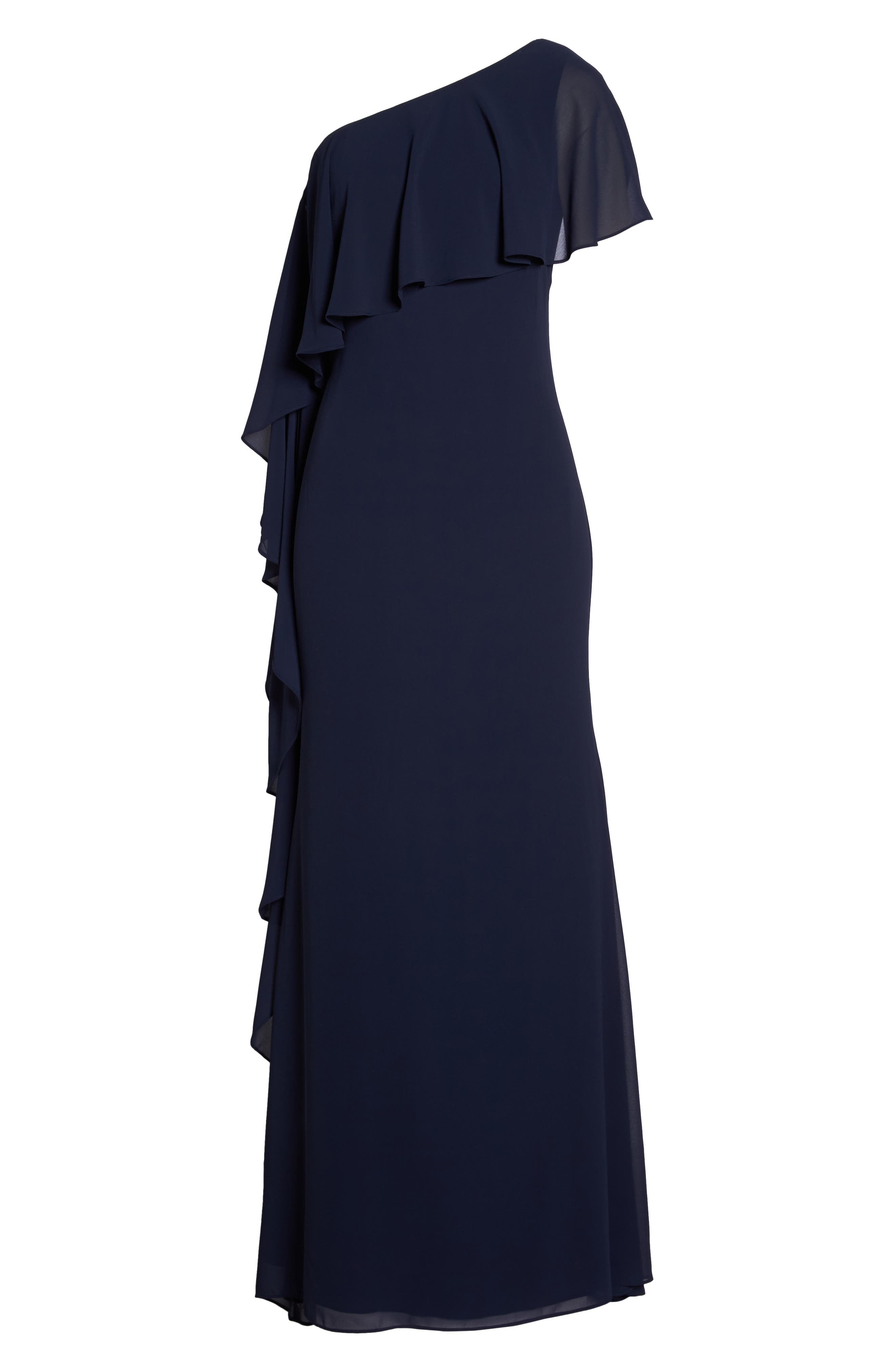 One-Shoulder Chiffon Gown,                             Alternate thumbnail 6, color,                             Navy