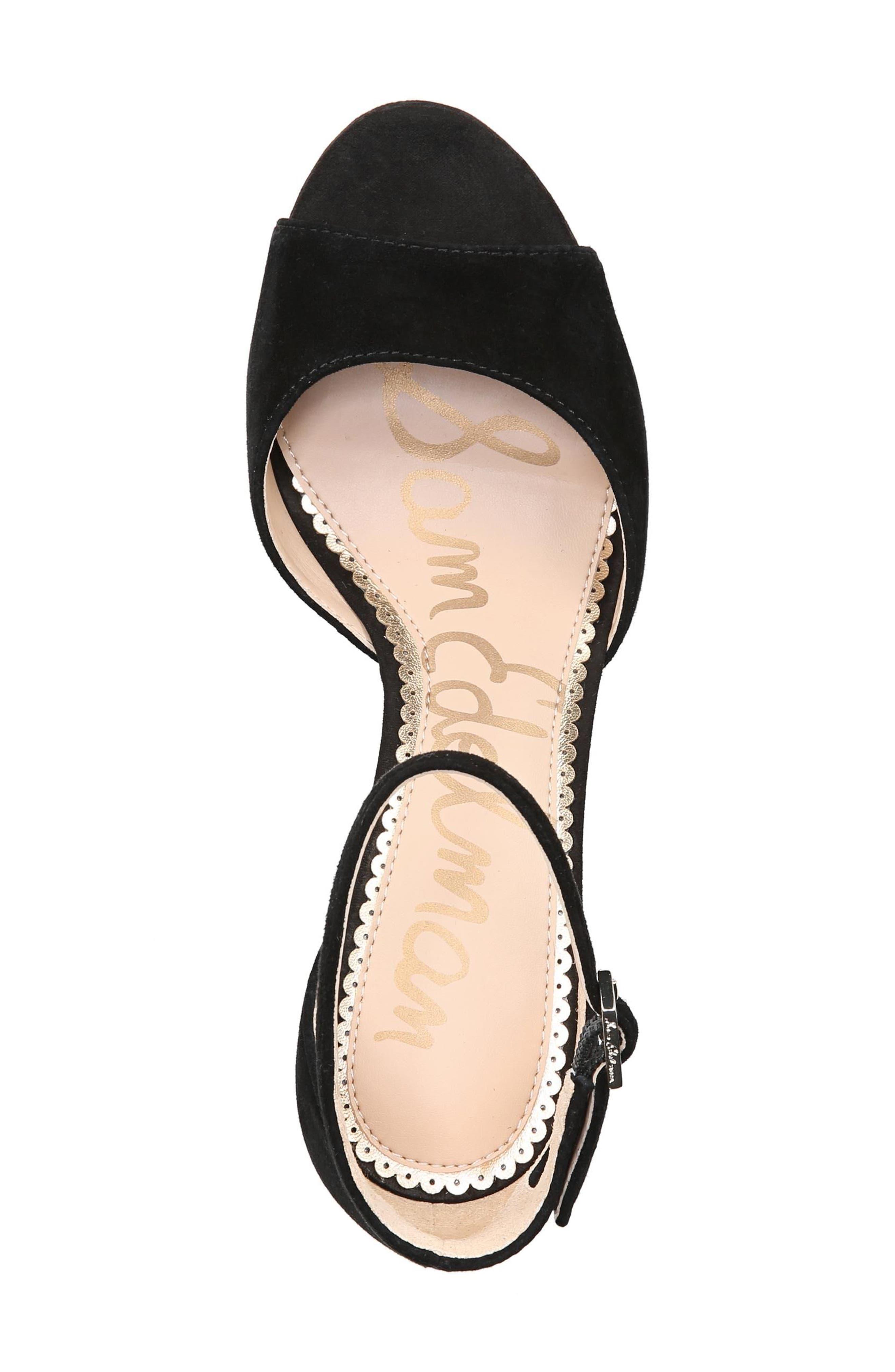 Jerin Platform Sandal,                             Alternate thumbnail 5, color,                             Black Suede