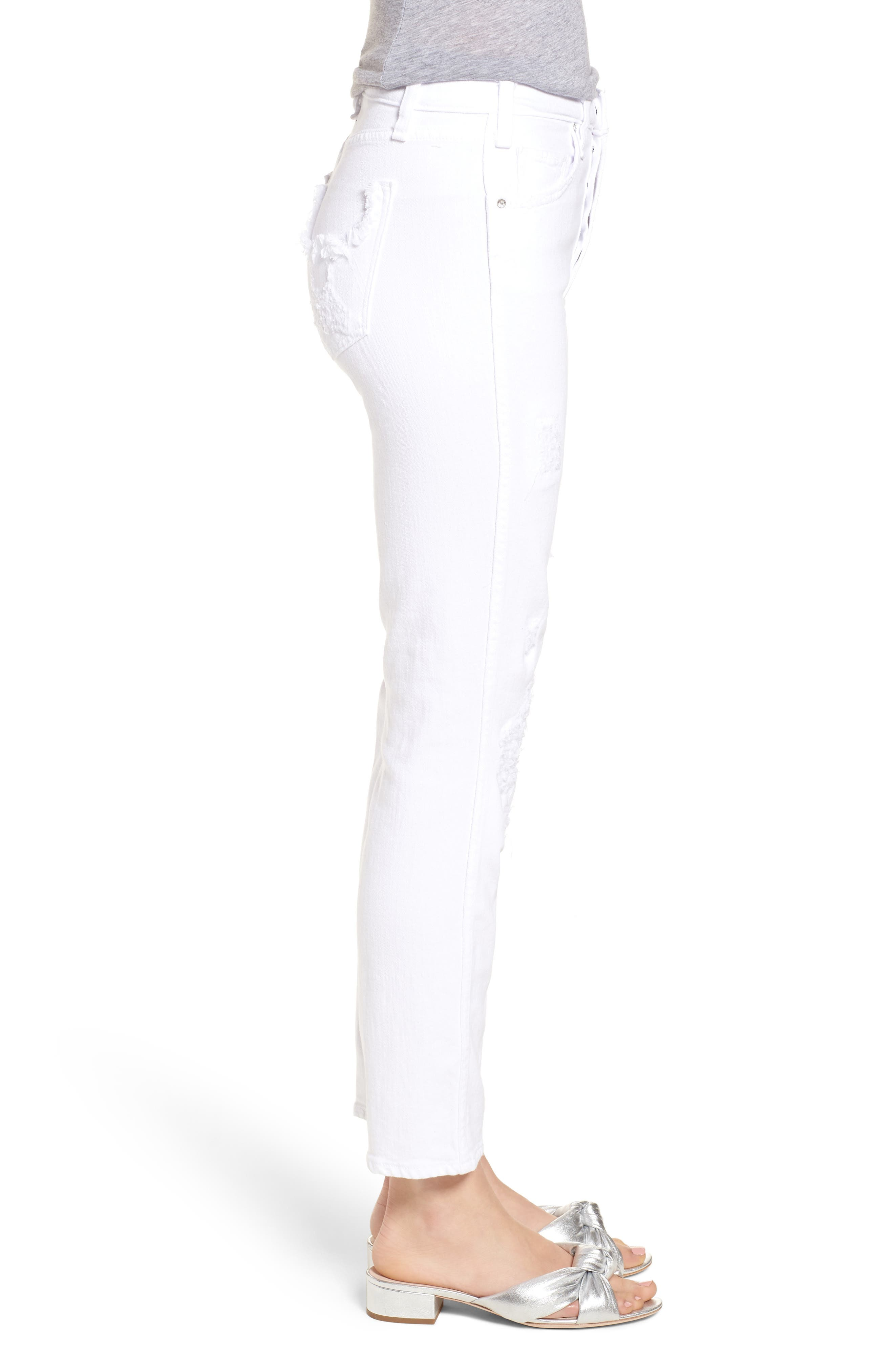 Kaia Distressed High Waist Slim Jeans,                             Alternate thumbnail 3, color,                             Riders In The Sky