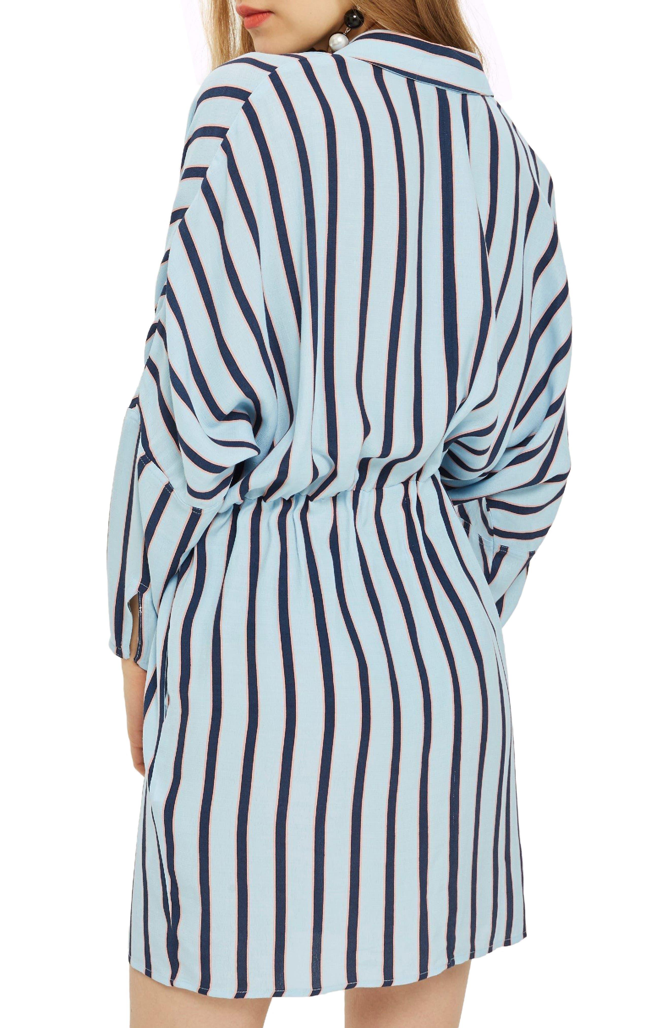 Drawstring Stripe Shirtdress,                             Alternate thumbnail 2, color,                             Blue
