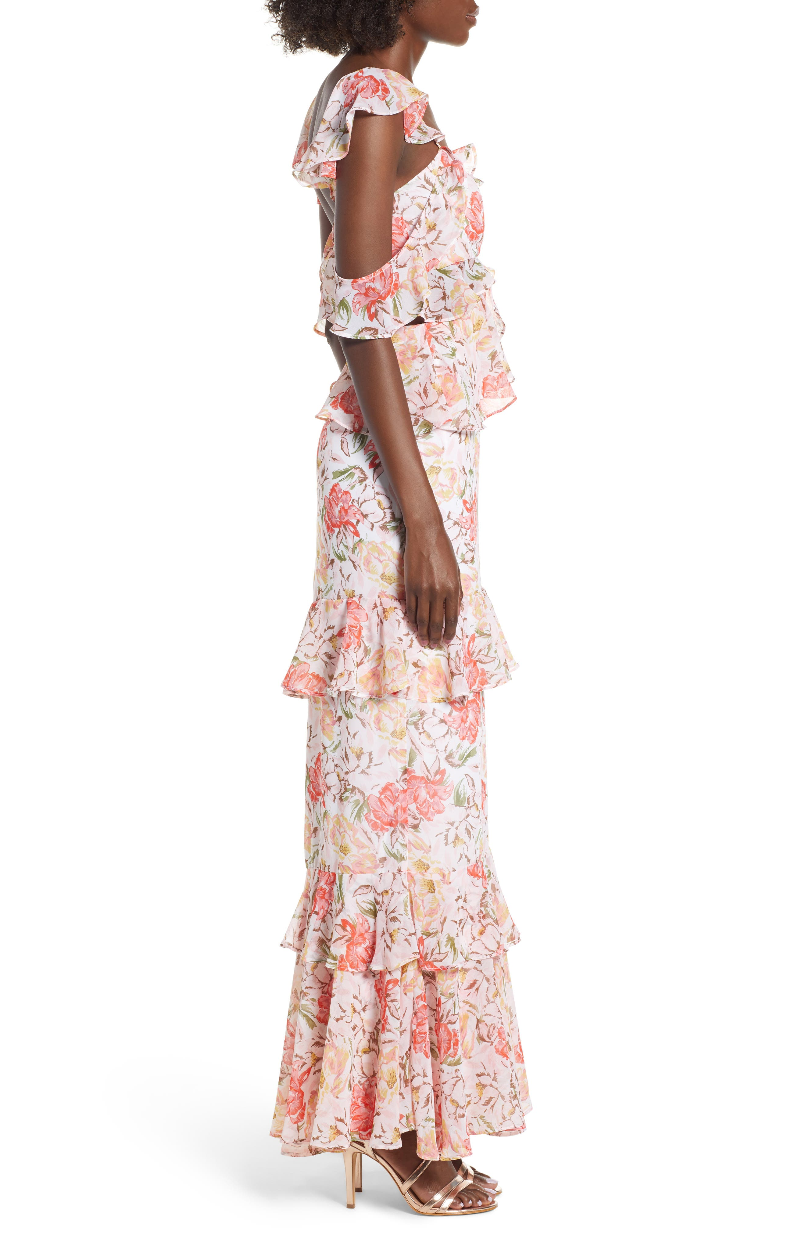Milan Cut Out Ruffle Maxi Dress,                             Alternate thumbnail 4, color,                             Ivory Floral
