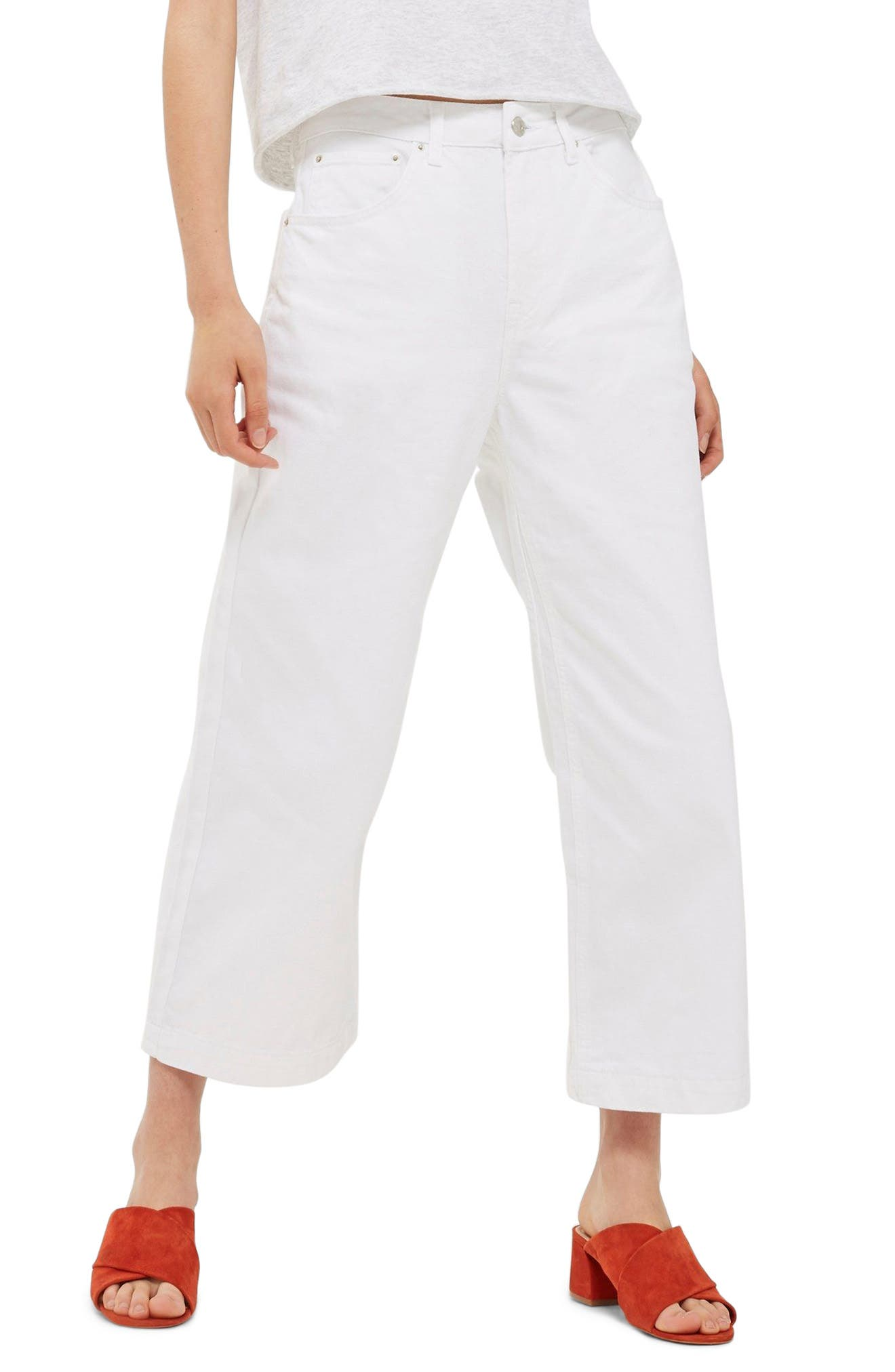 Topshop MOTO Cropped Wide Leg Non-Stretch Jeans