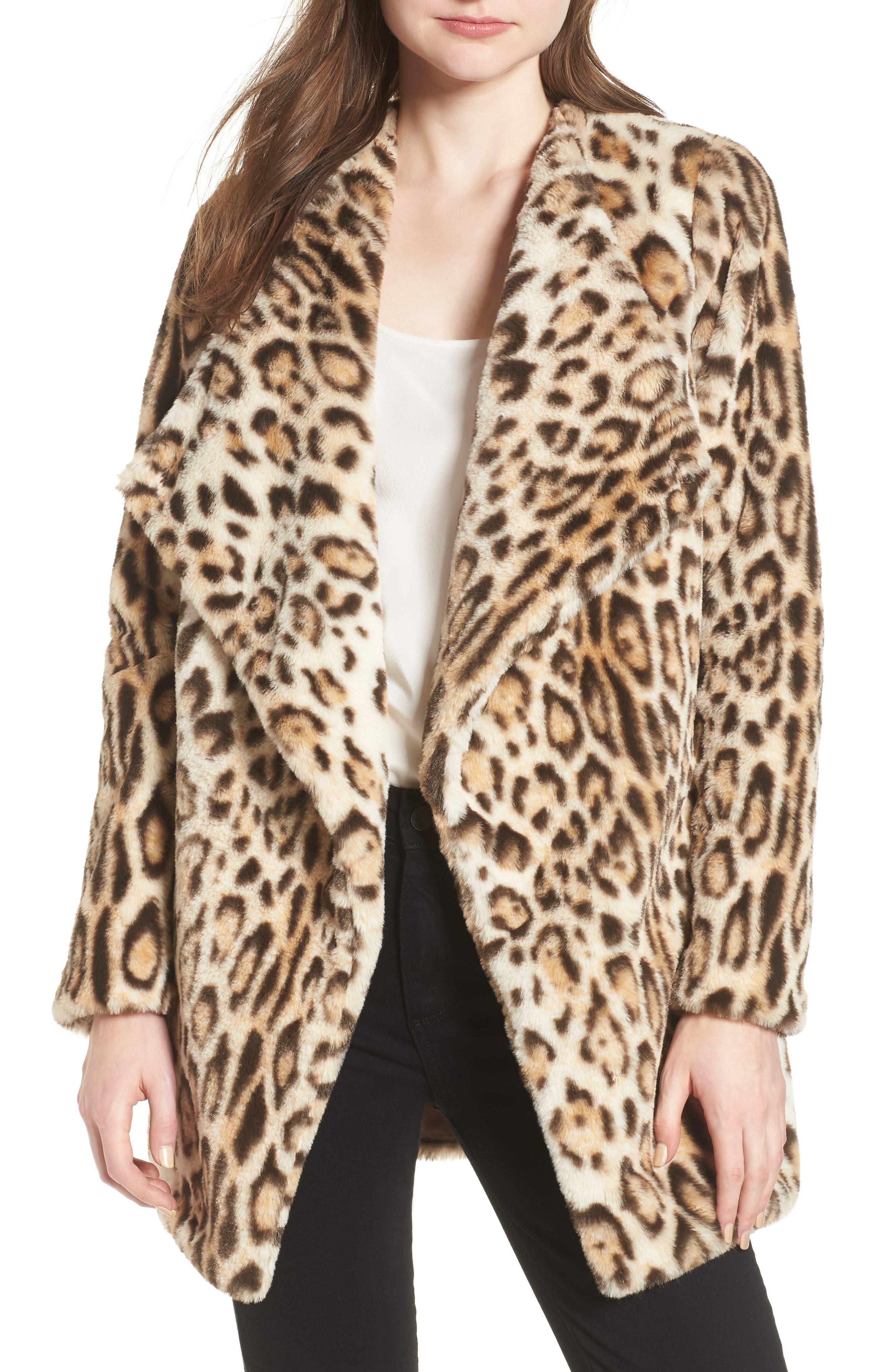 Leopard Faux Fur Jacket,                         Main,                         color, Leopard