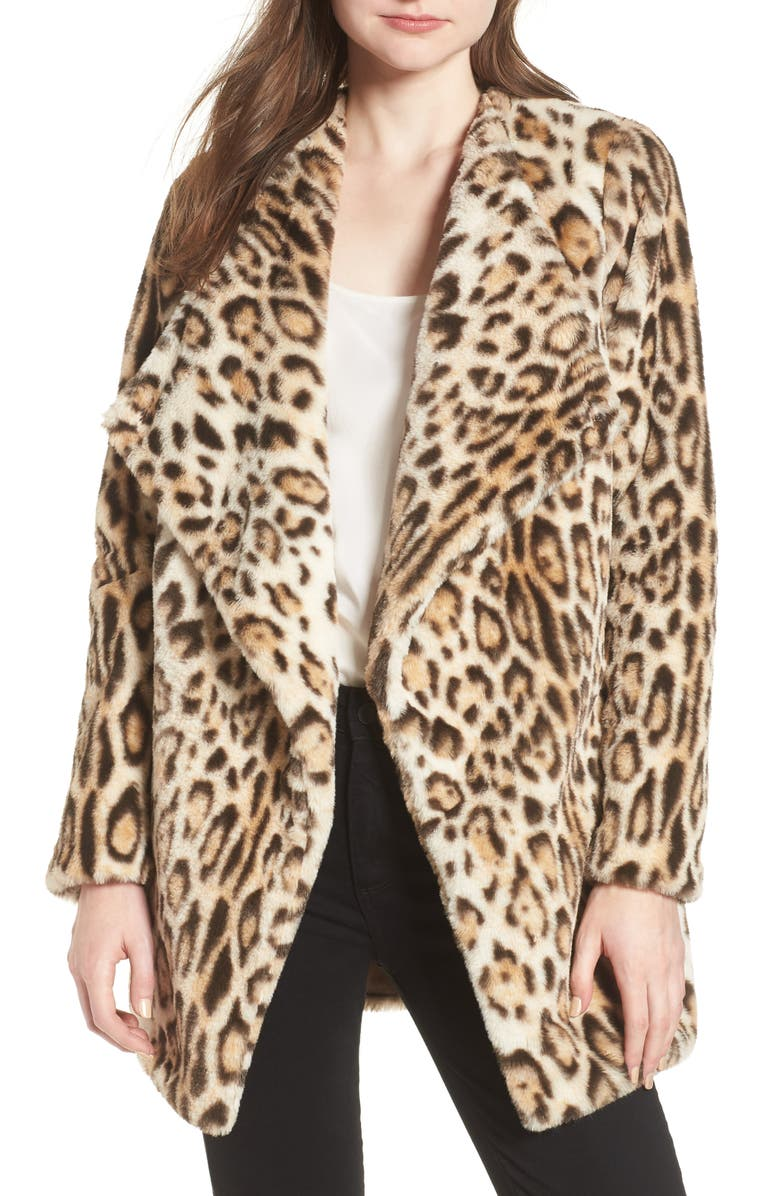 Leopard Faux Fur Jacket,                         Main,                         color, Leopard