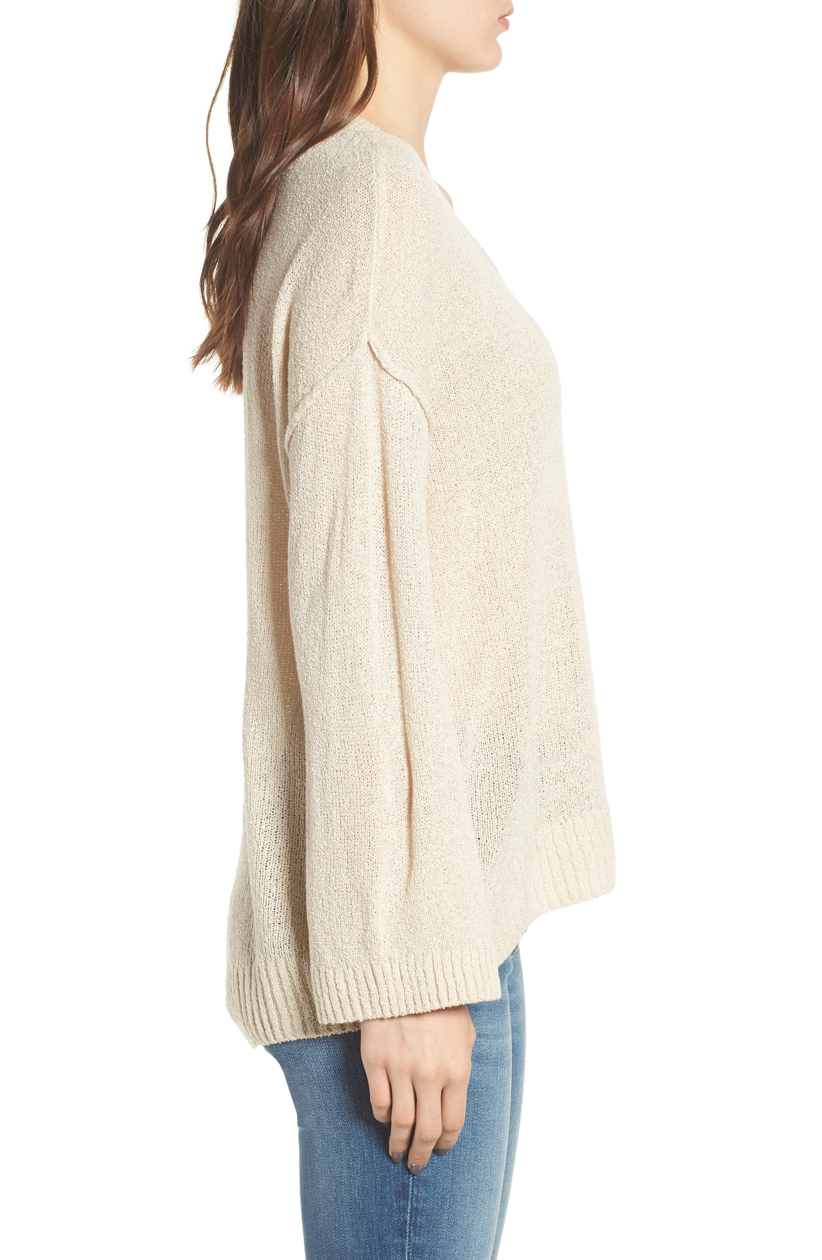 Exposed Seam Sweater,                             Alternate thumbnail 3, color,                             Beige Birch