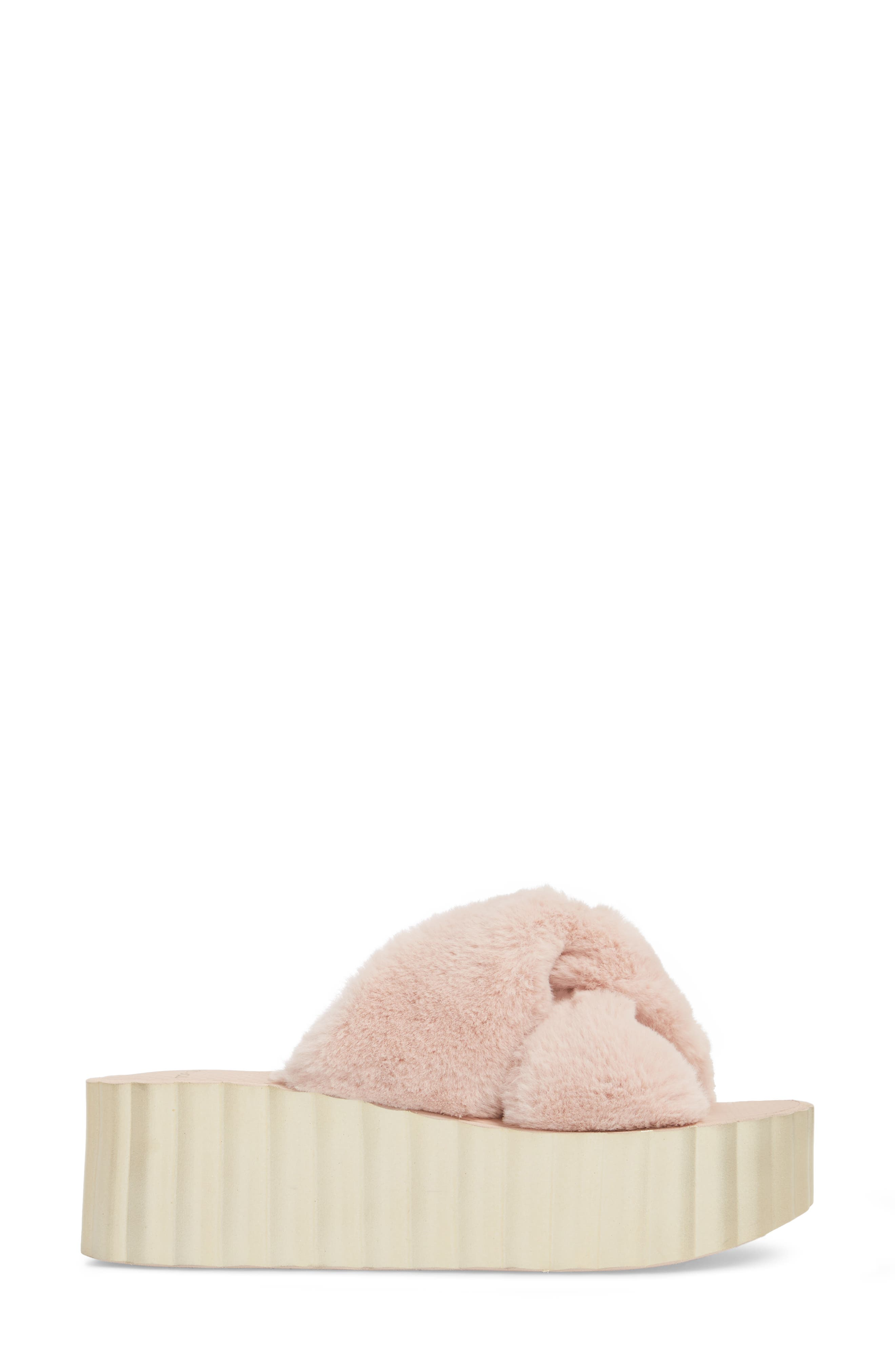 Faux Fur Scallop Platform Slide Sandal,                             Alternate thumbnail 3, color,                             Sea Shell Pink