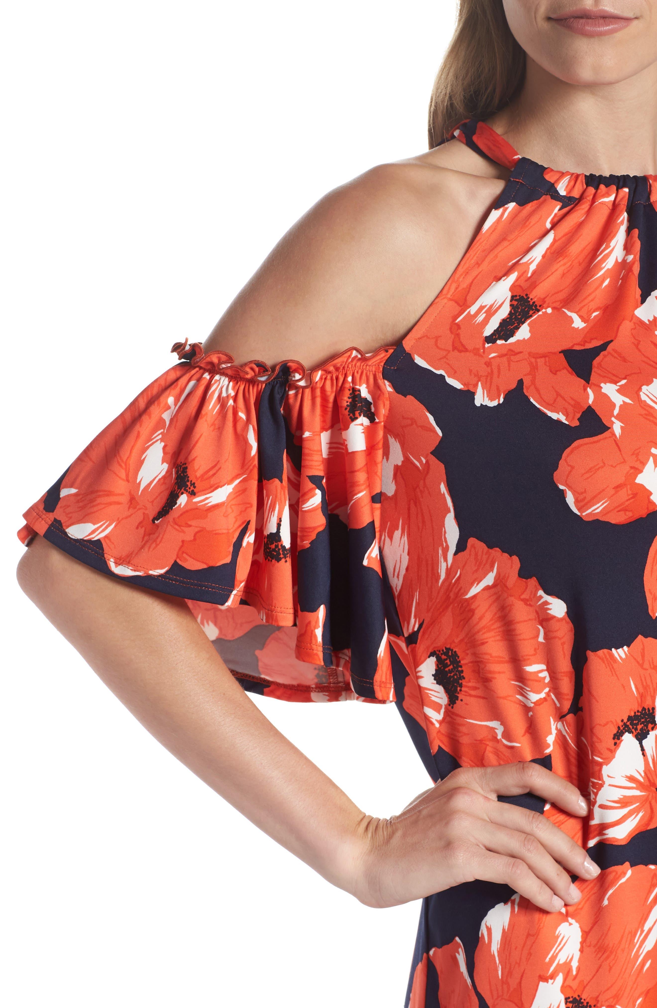 Lexi Poppy Cold Shoulder Shift Dress,                             Alternate thumbnail 4, color,                             Indigo/ Red Ginger