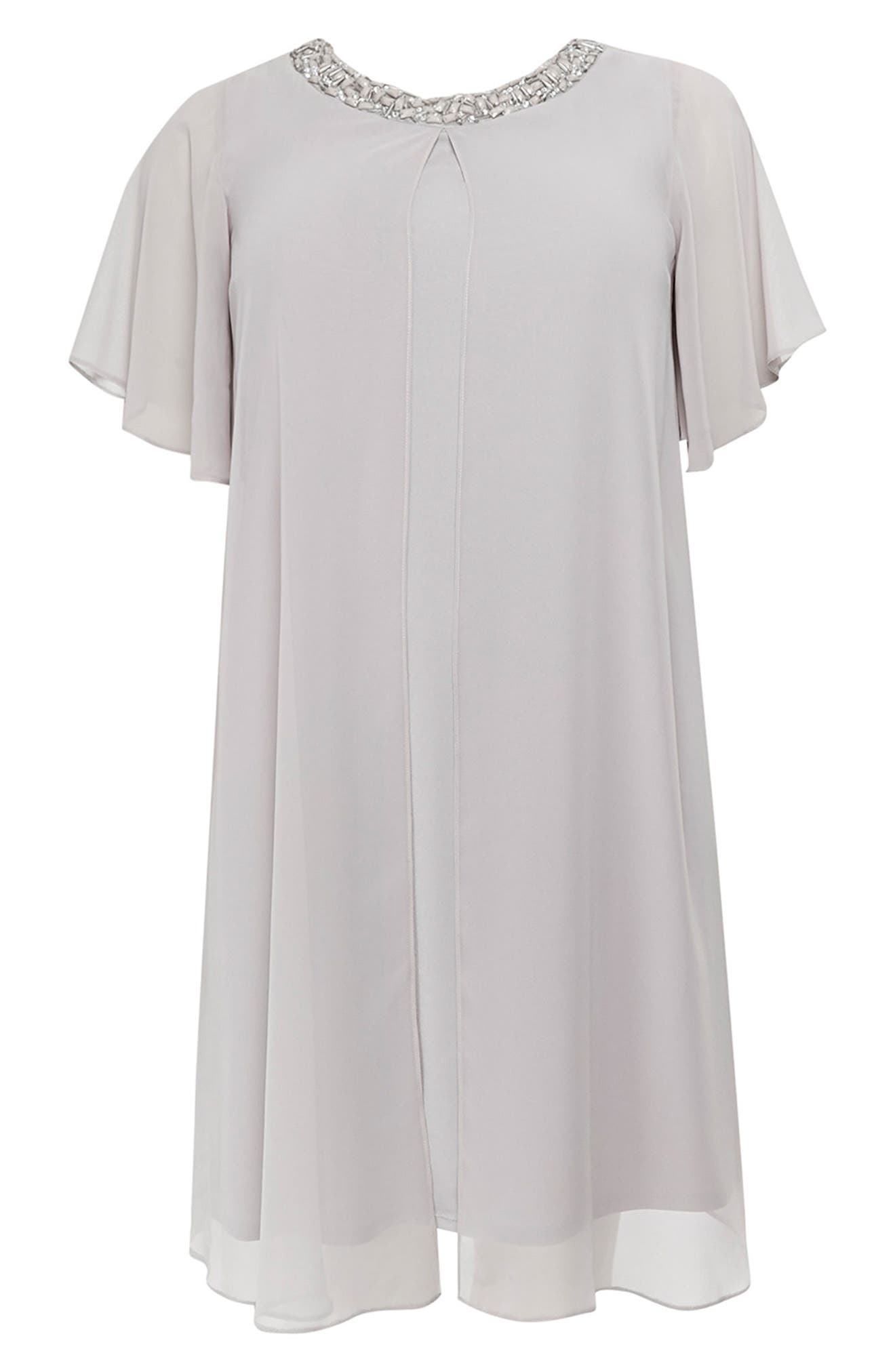 Embellished Neck Split Overlay Shift Dress,                             Alternate thumbnail 4, color,                             Dark Multi