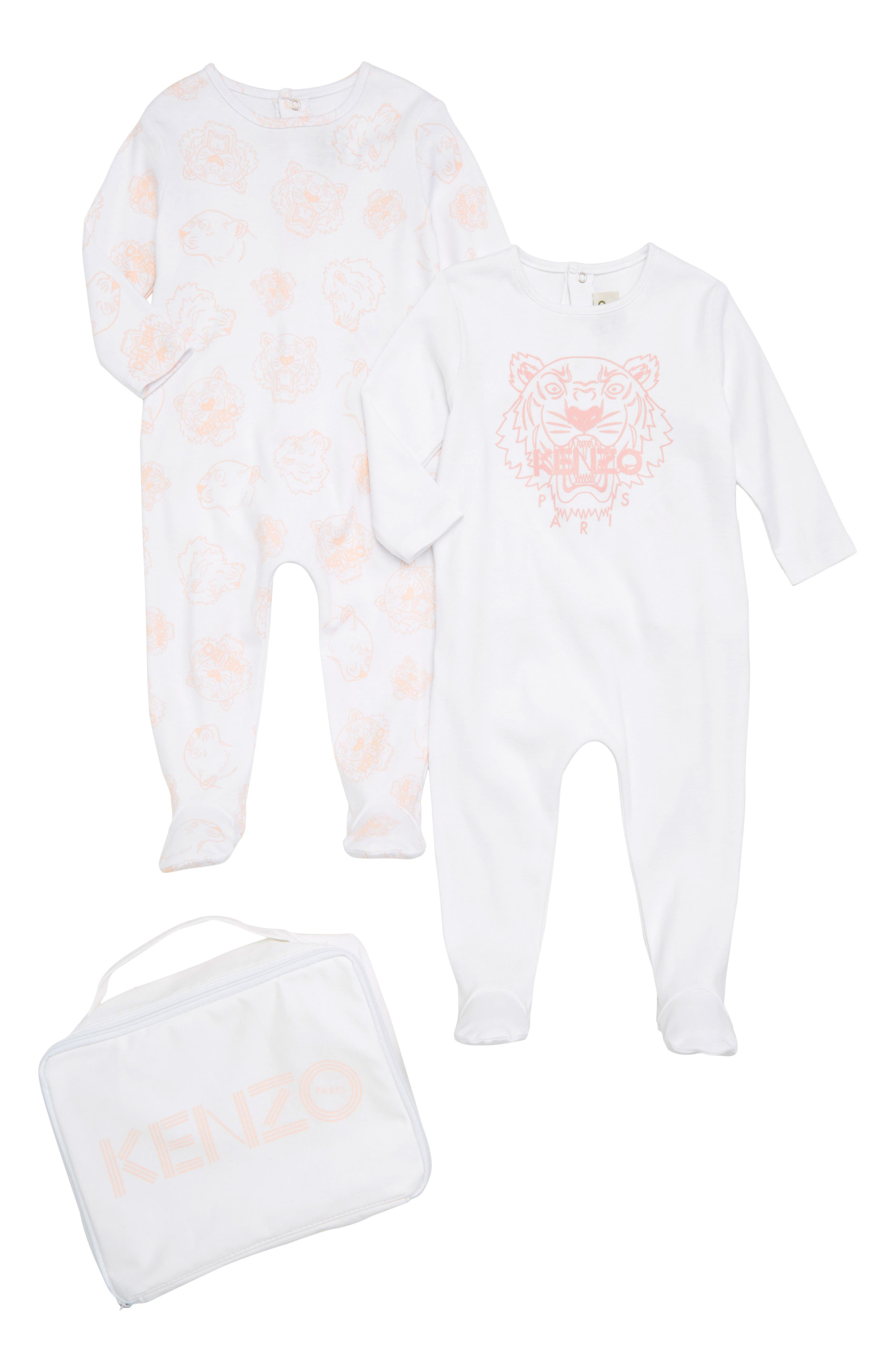 Tiger 2-Pack Footies & Zip Case Set,                             Main thumbnail 1, color,                             Old Pink