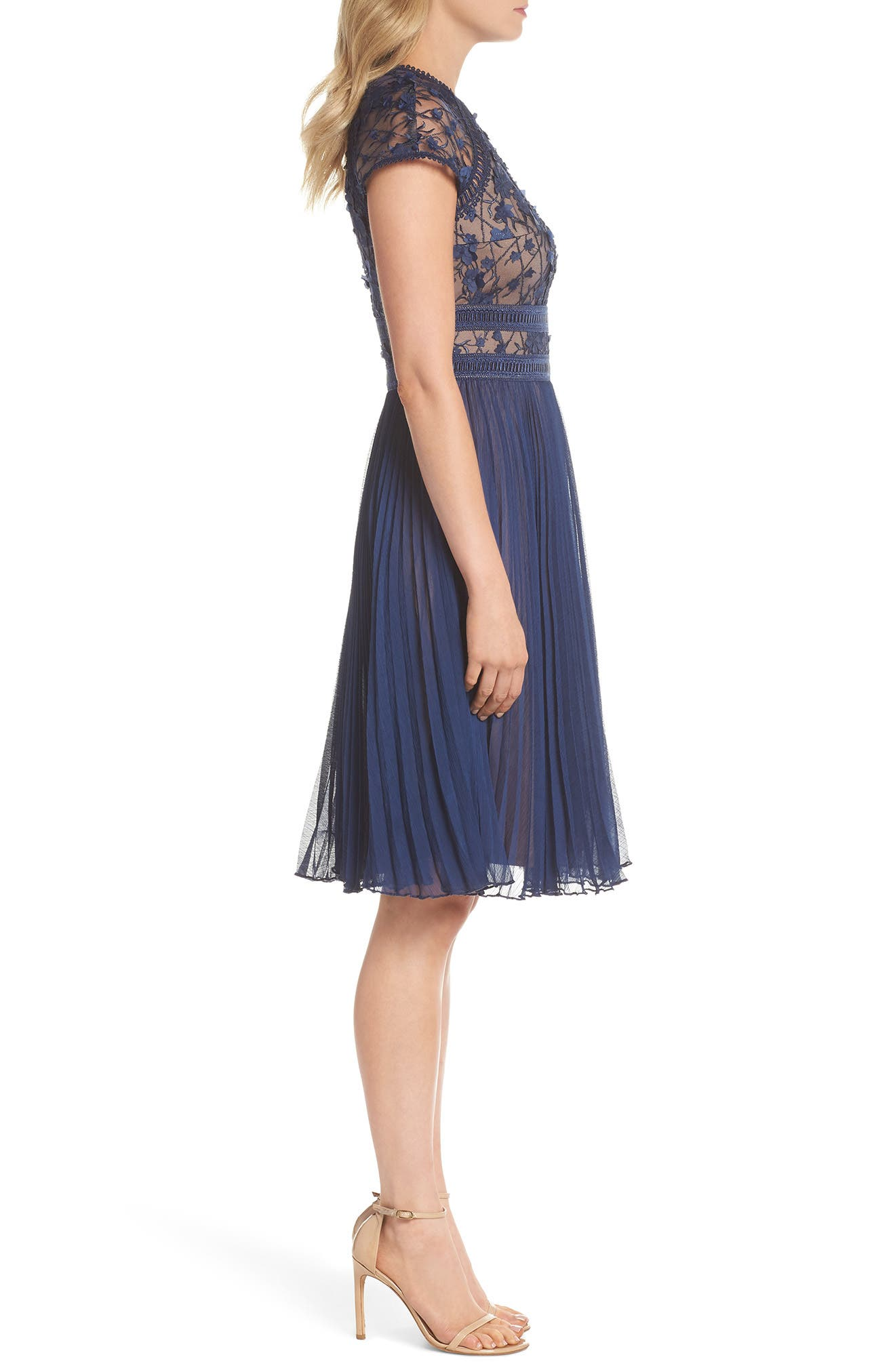 Embroidered Mesh & Chiffon Dress,                             Alternate thumbnail 3, color,                             Midnight/ Nude