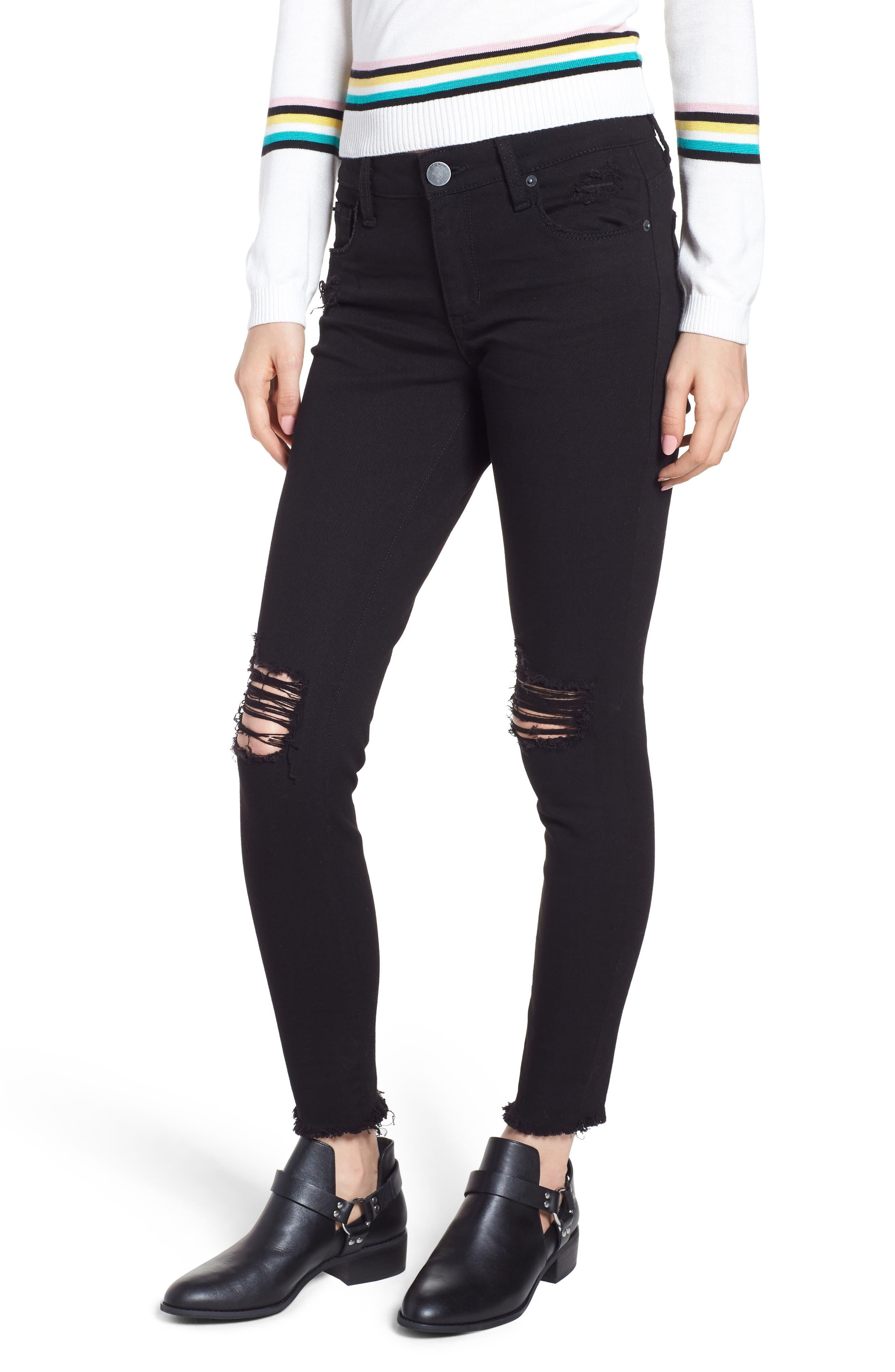 Emma Ripped Fray Hem Skinny Jeans,                             Main thumbnail 1, color,                             Black