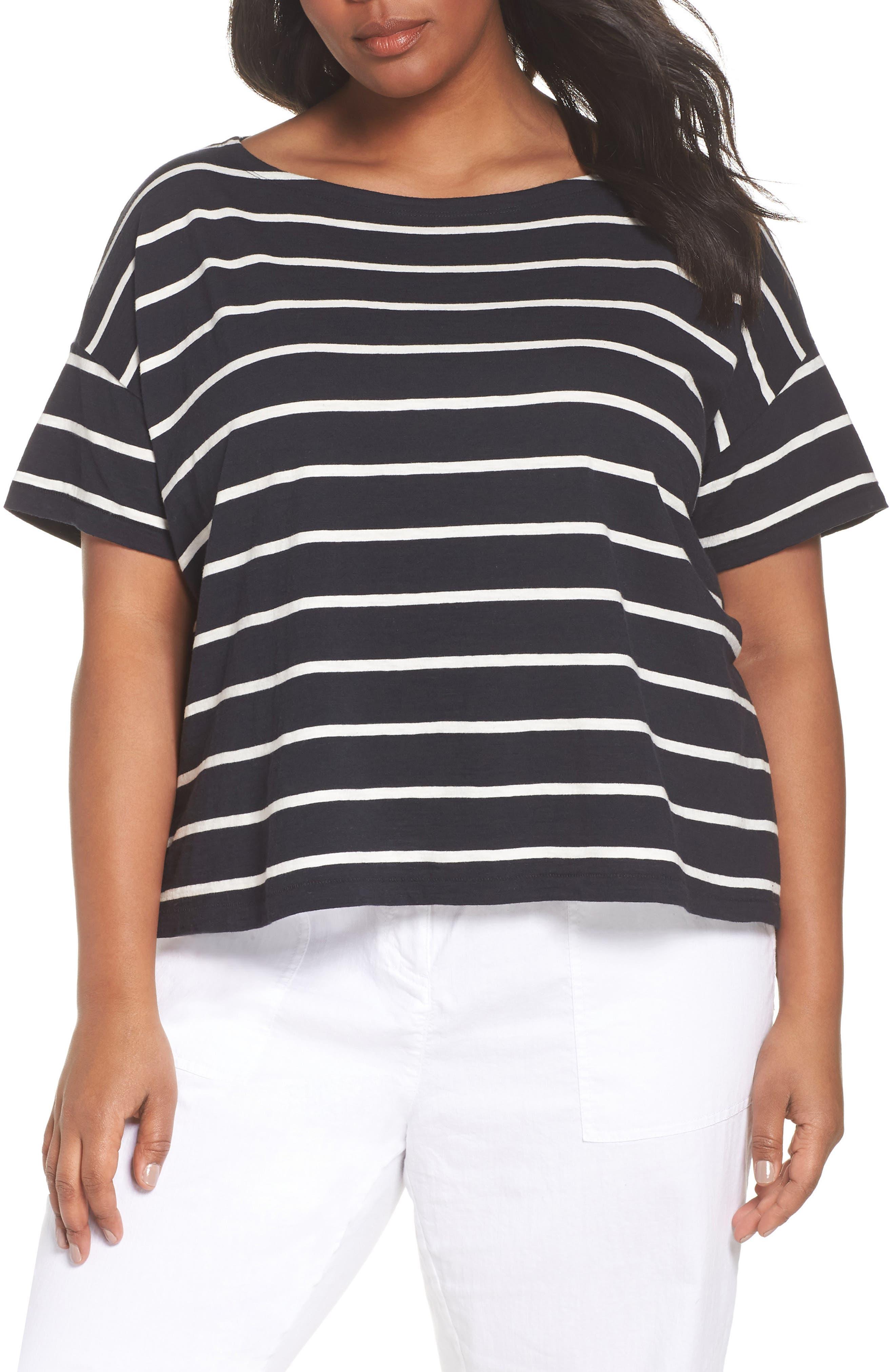 Stripe Organic Cotton Top,                         Main,                         color, Black/ White