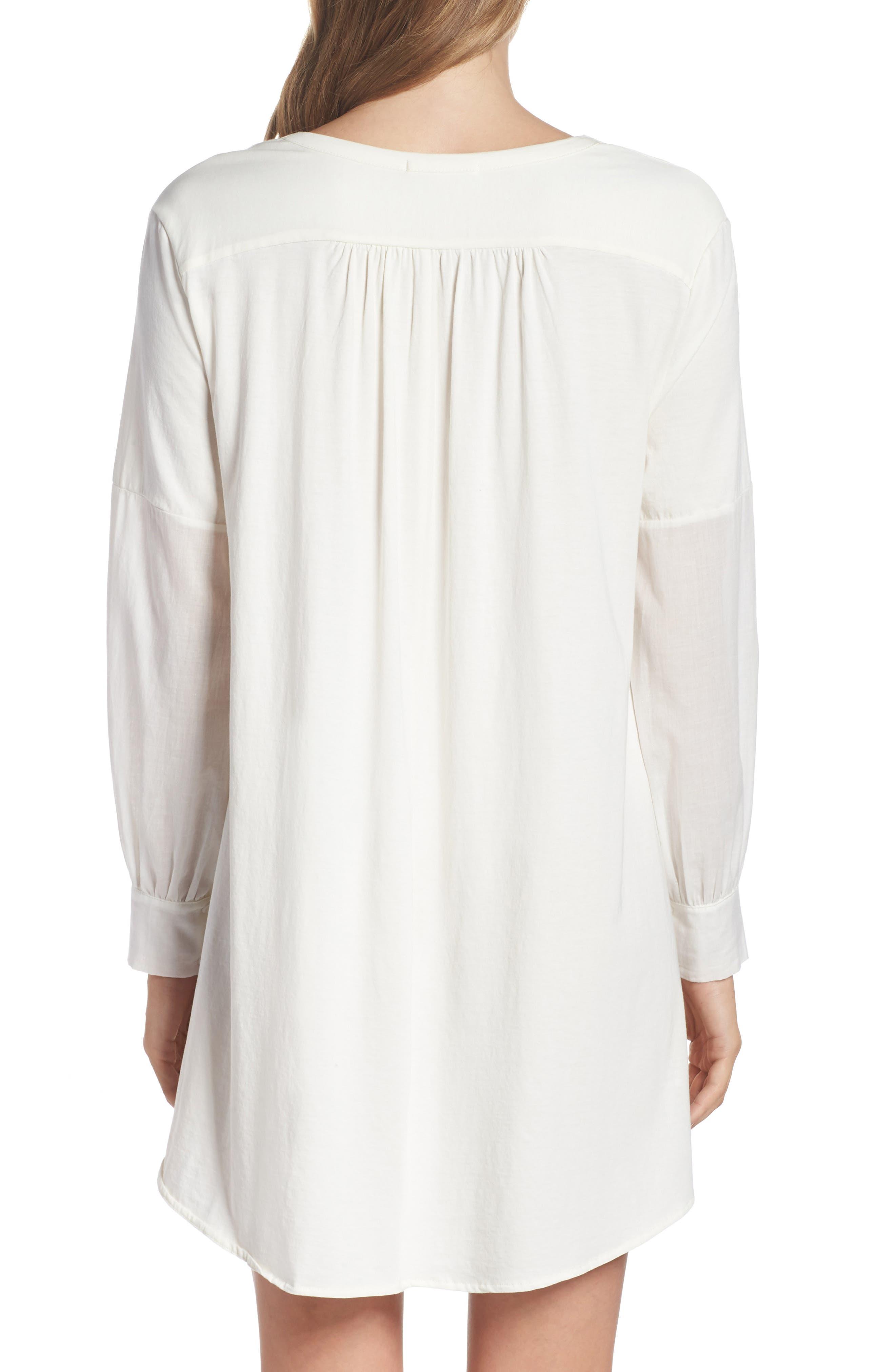 Blanche Pima Cotton Voile Sleep Shirt,                             Alternate thumbnail 2, color,                             Gardenia