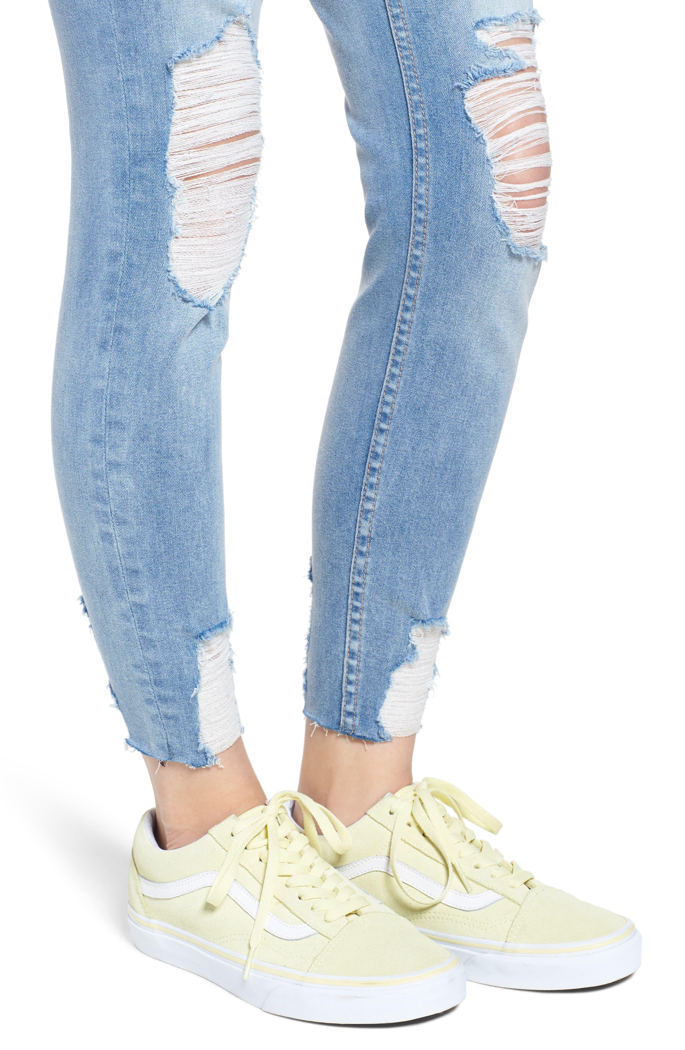 Marley Distressed Crop Skinny Jeans,                             Alternate thumbnail 4, color,                             Light Medium Wash