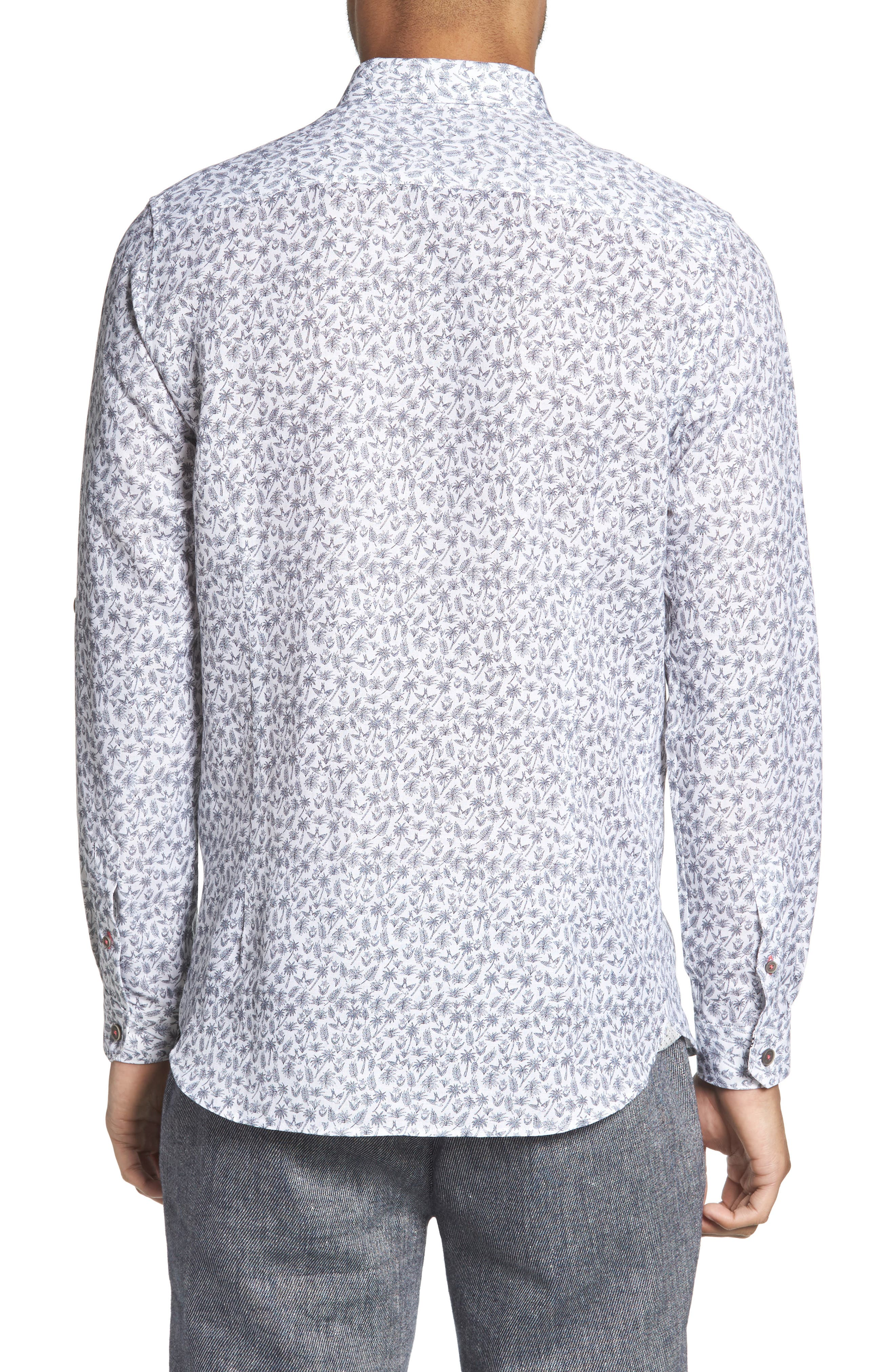 Nazta Trim Fit Tropical Print Sport Shirt,                             Alternate thumbnail 3, color,                             White
