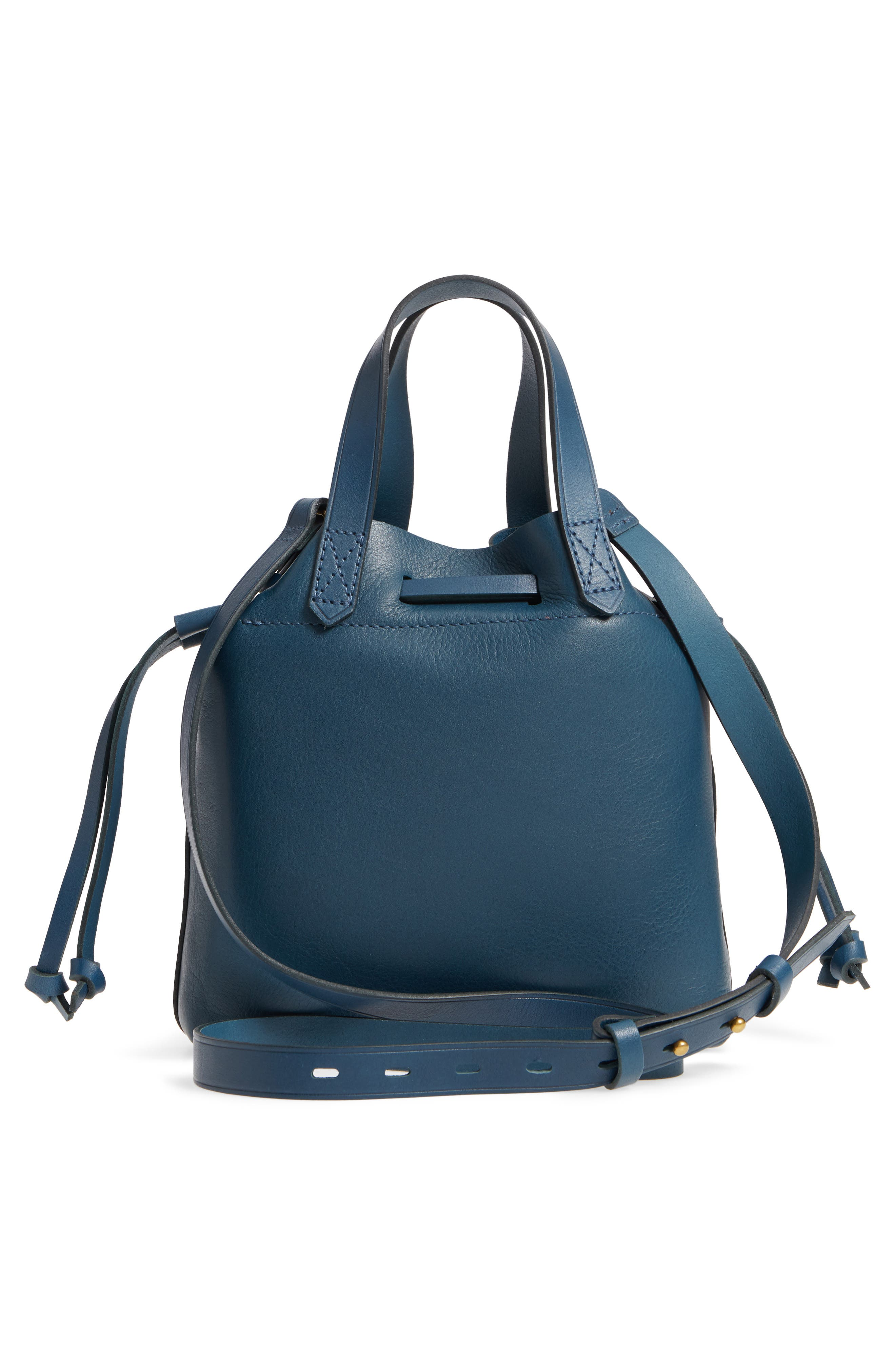 The Mini Pocket Transport Leather Drawstring Tote,                             Alternate thumbnail 3, color,                             Blue Hematite