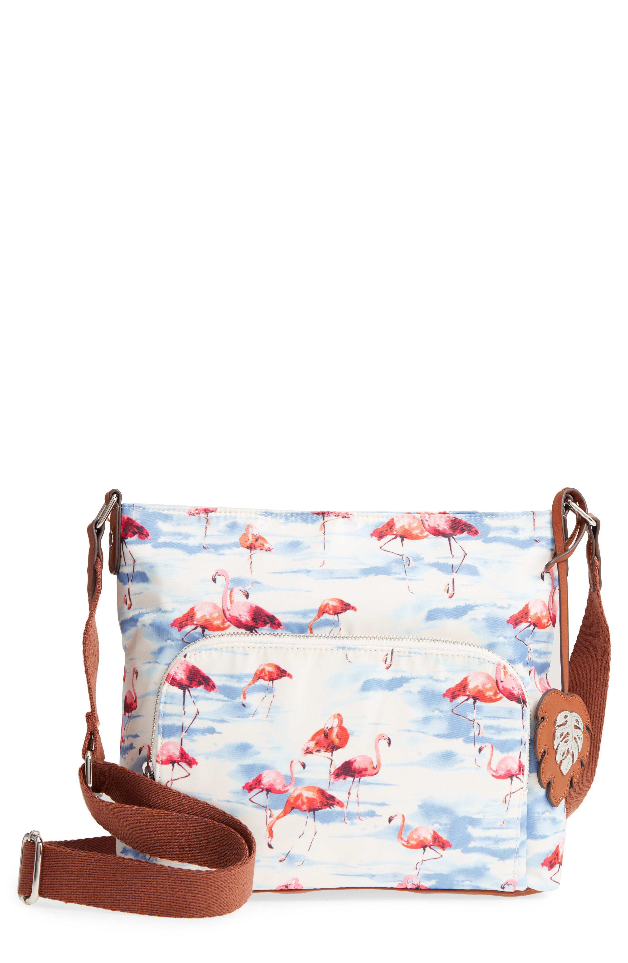 Siesta Key Waterproof Nylon Crossbody Bag,                             Main thumbnail 1, color,                             Flamingo Squad