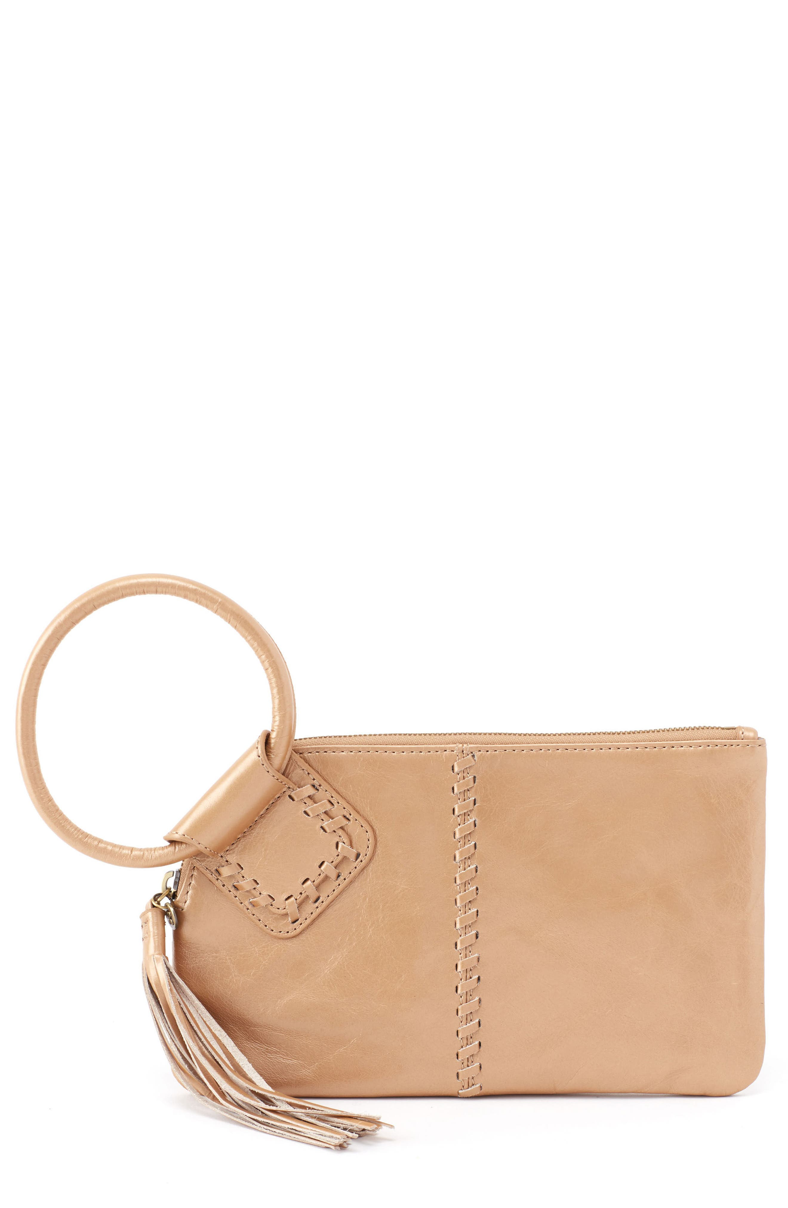 Sable Calfskin Leather Clutch,                         Main,                         color, Gold Dust