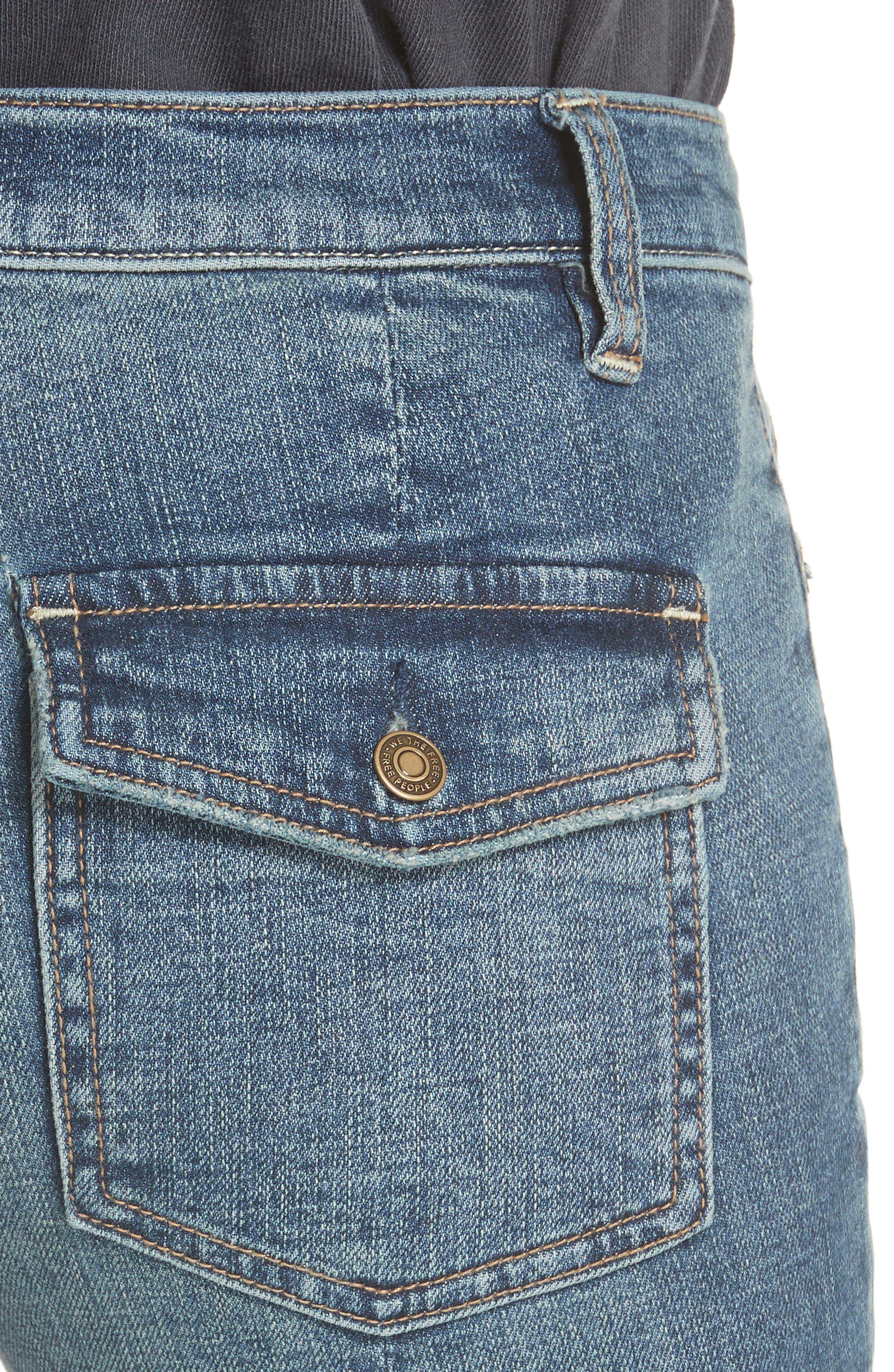 Austin Raw Hem Ankle Jeans,                             Alternate thumbnail 4, color,                             Blue