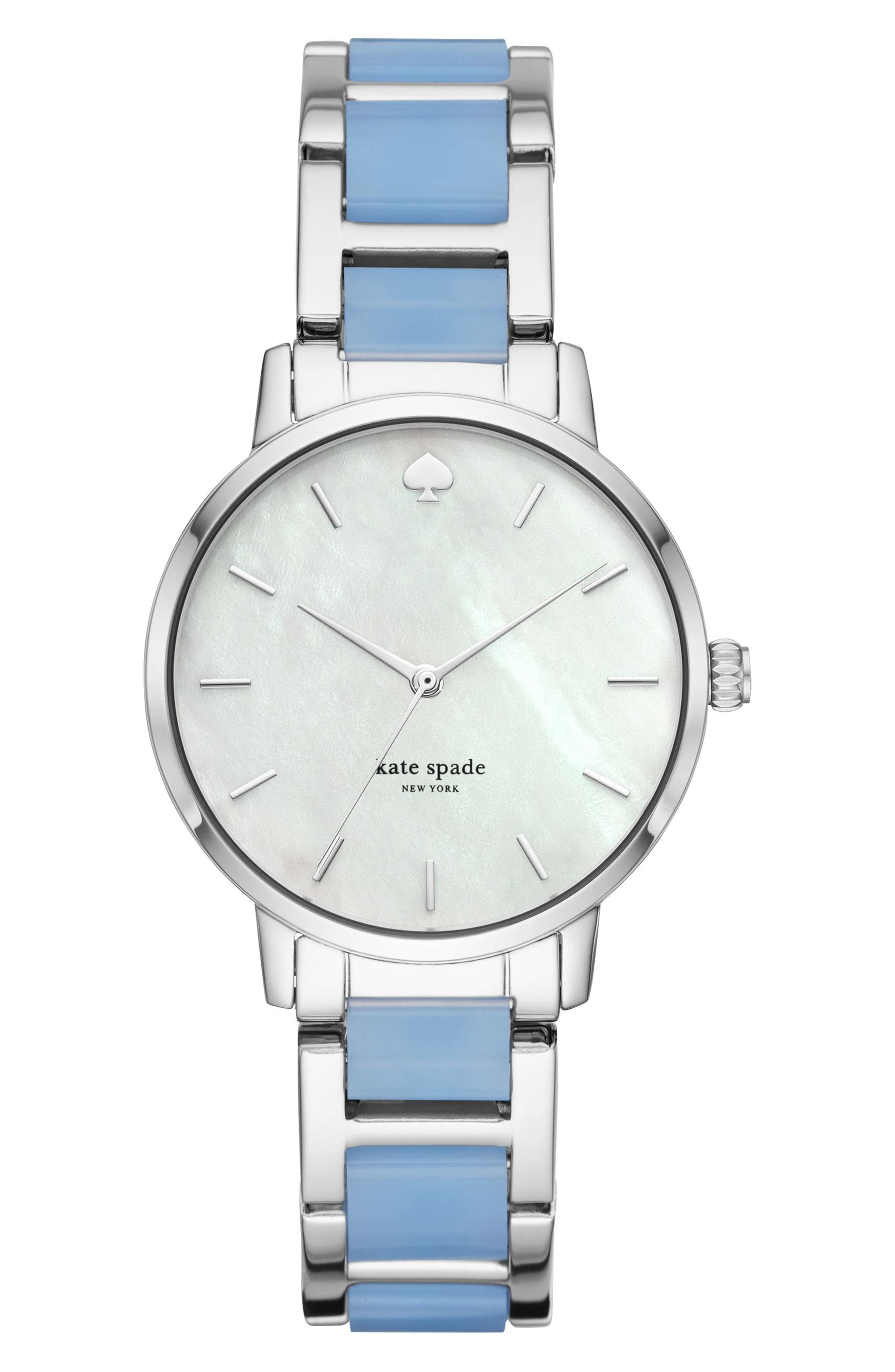 metro bracelet strap watch, 34mm,                             Main thumbnail 1, color,                             Blue/ Mop/ Silver