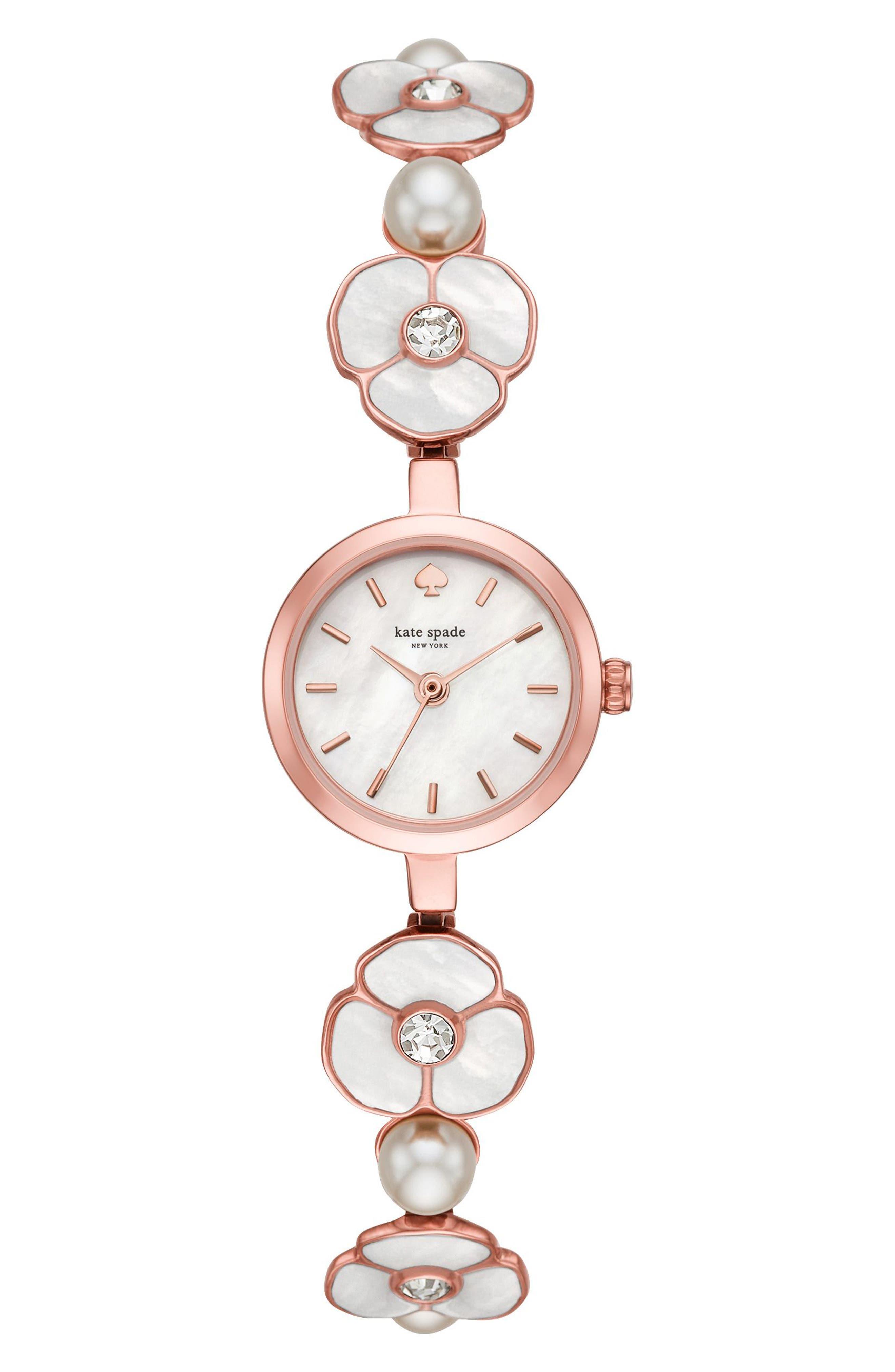 kate spade metro bracelet watch, 20mm,                             Main thumbnail 1, color,                             Pink/ Mop/ Pink