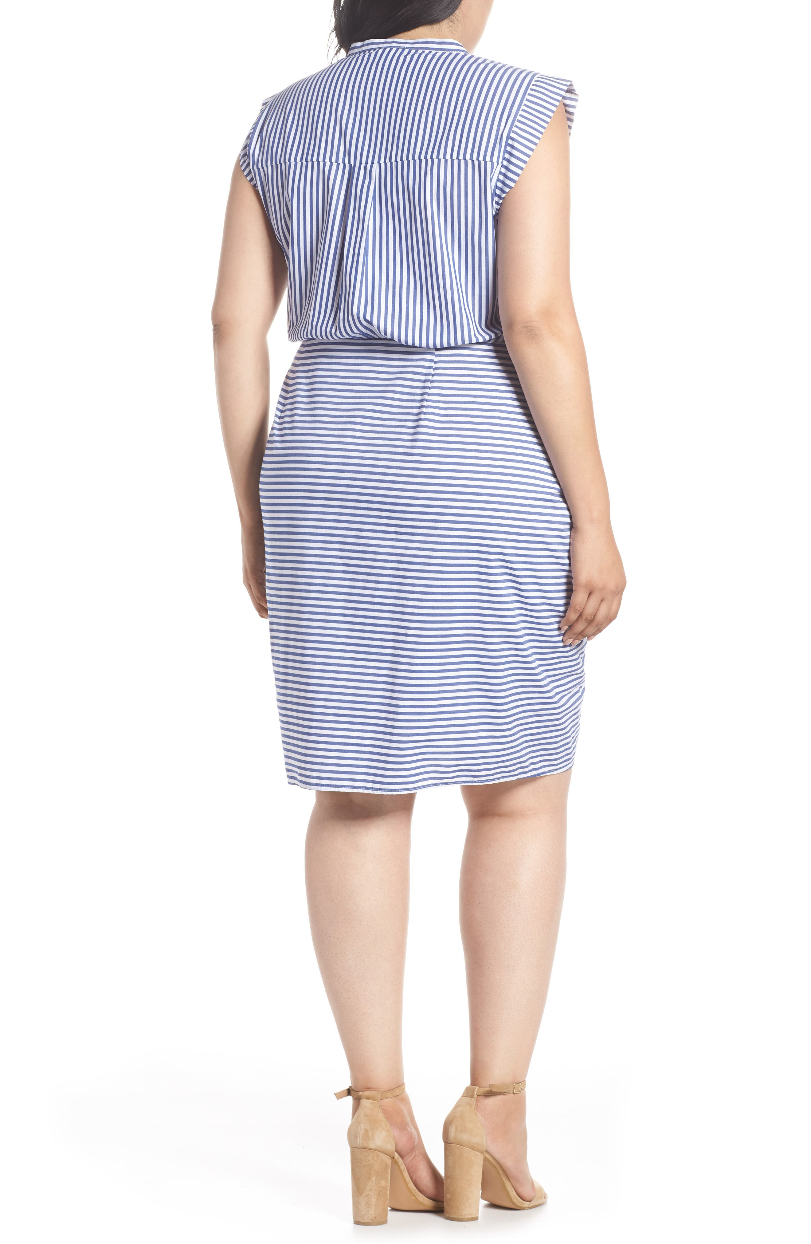 Stripe Ruched Cotton Shirtdress,                             Alternate thumbnail 4, color,                             Blue White Stripe