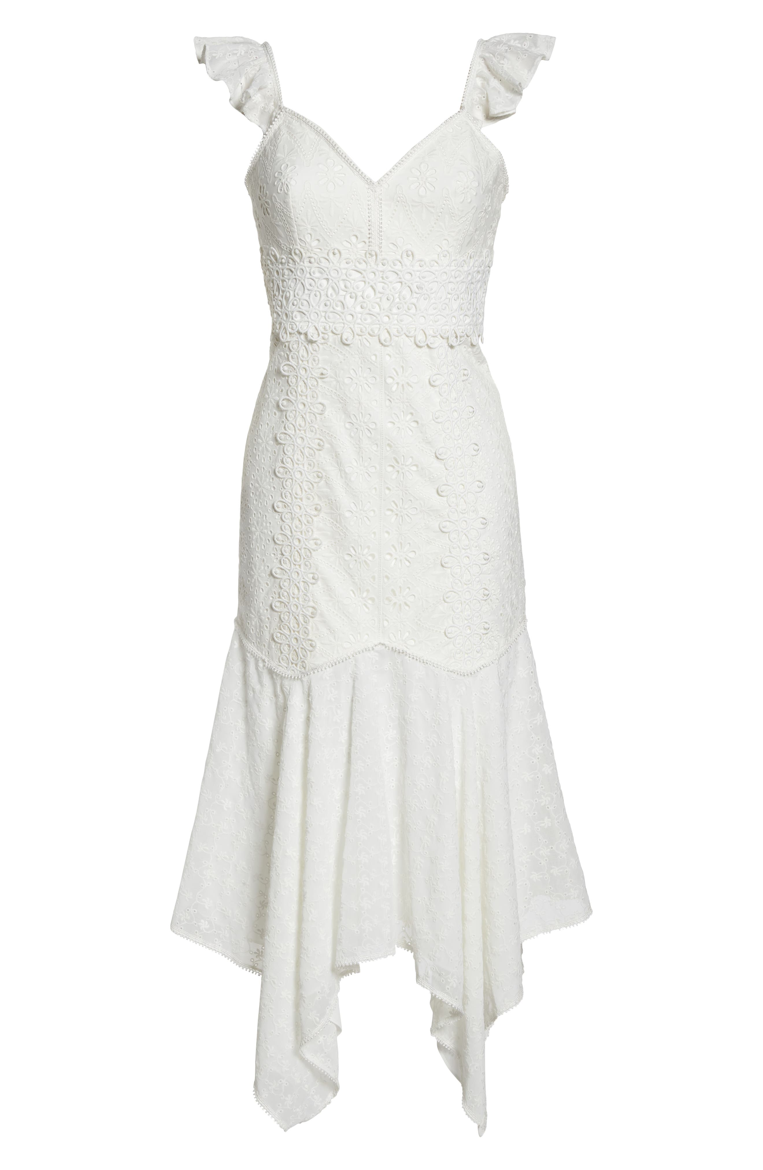 Broderie Anglaise Dress,                             Alternate thumbnail 7, color,                             White