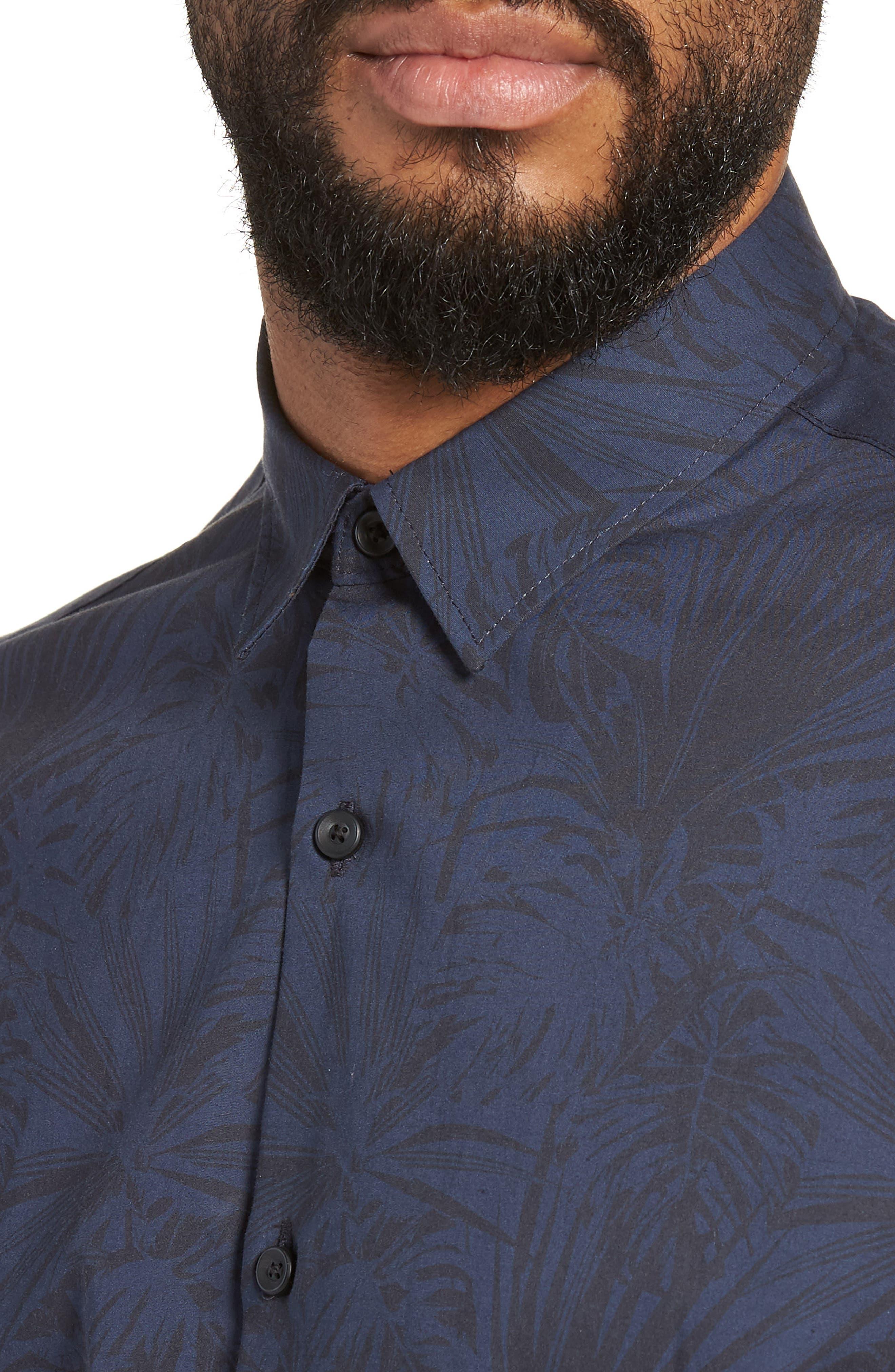 Trim Fit Stretch Print Sport Shirt,                             Alternate thumbnail 2, color,                             Black Navy Palm