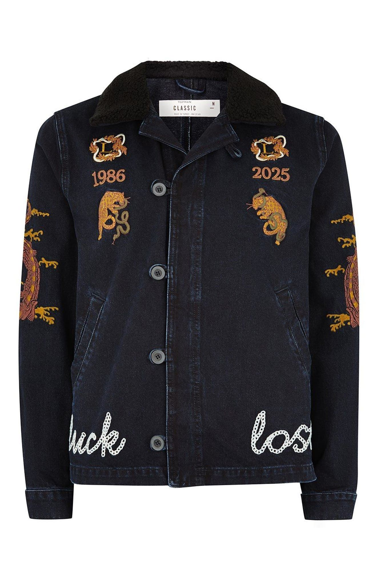 Decadent Embroidered Denim Jacket,                             Alternate thumbnail 4, color,                             Blue Multi