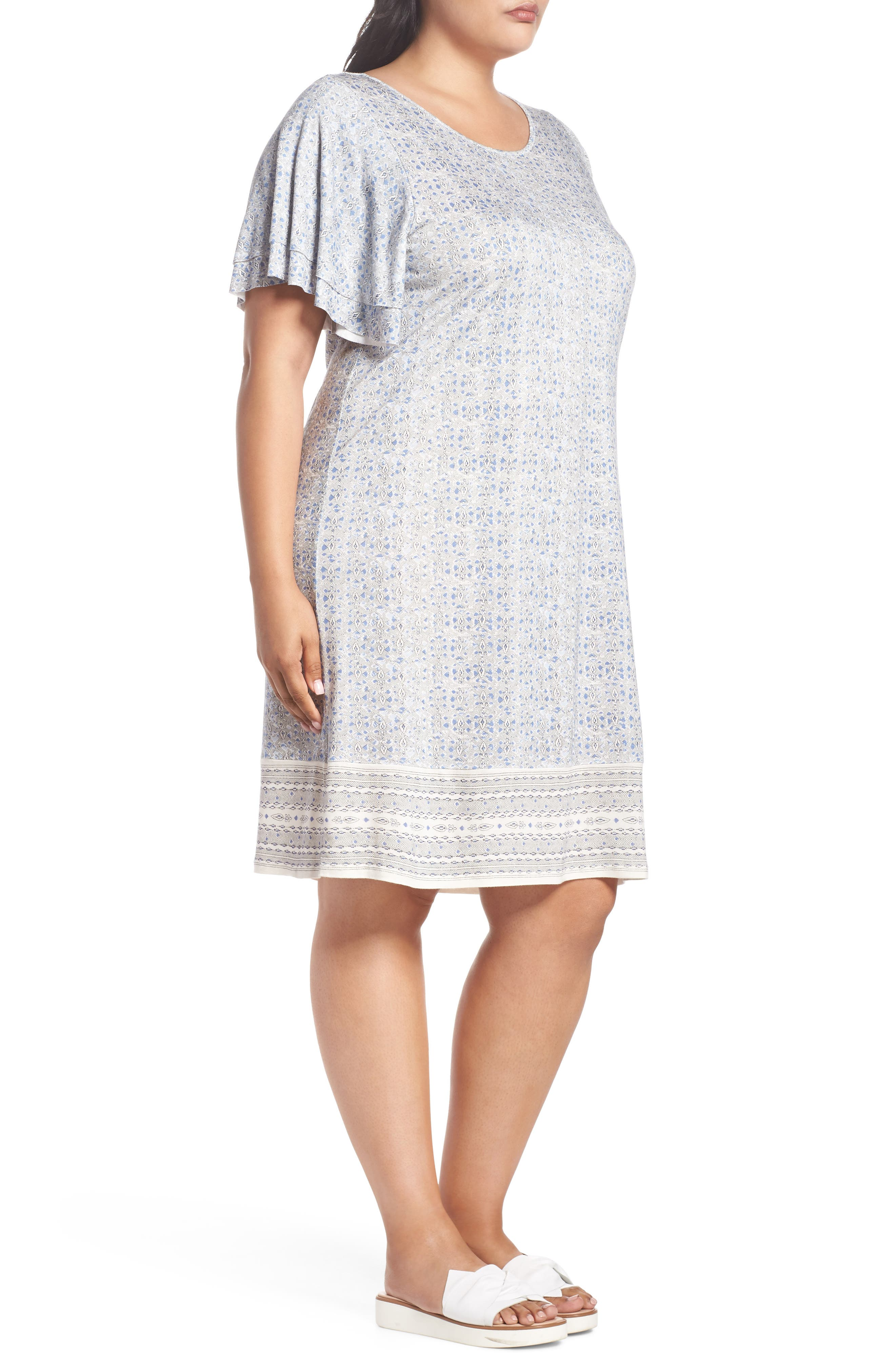 Ruffle Sleeve Print Shift Dress,                             Alternate thumbnail 3, color,                             Blue Multi