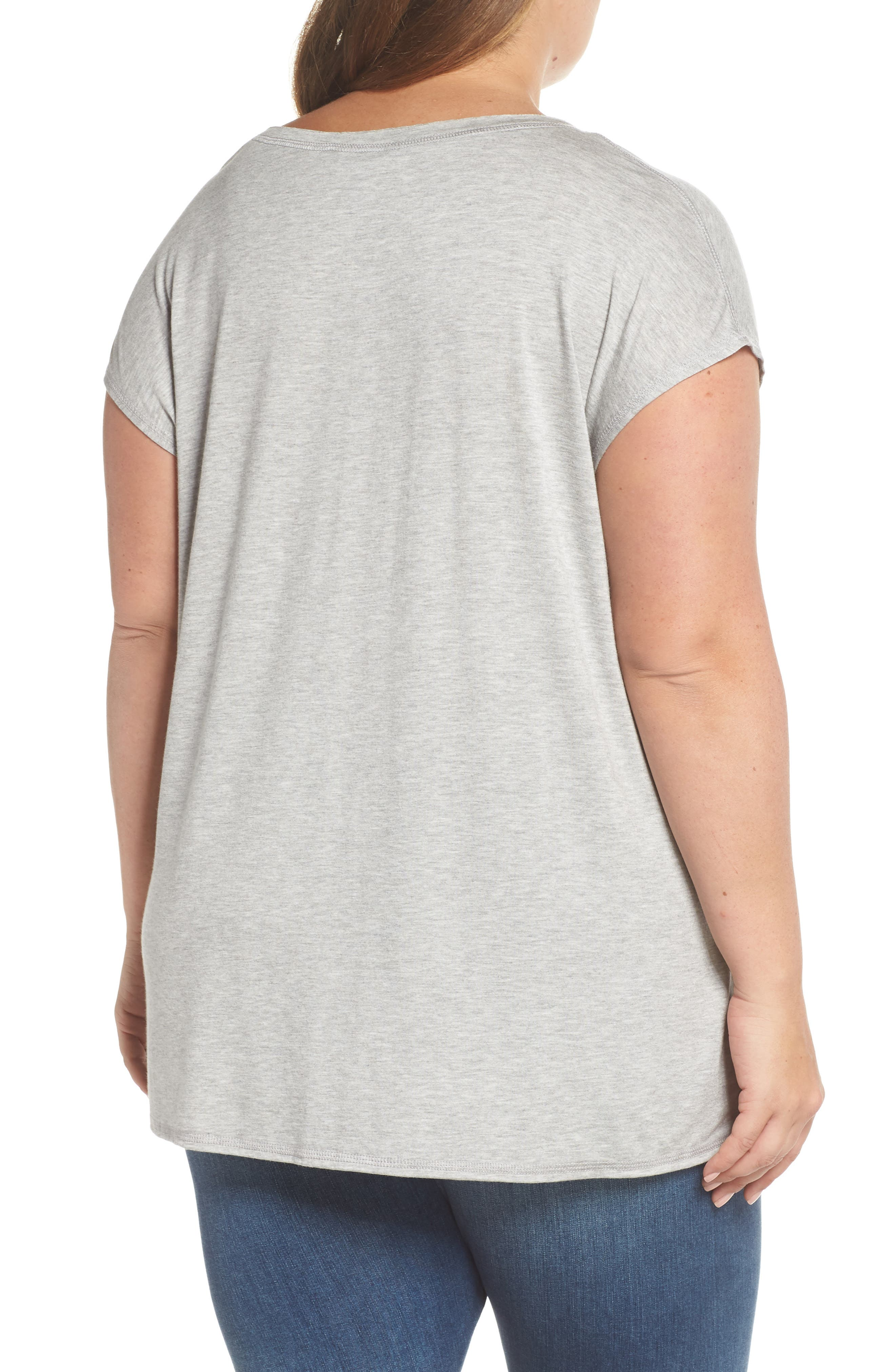 Off-Duty Stretch Knit Top,                             Alternate thumbnail 2, color,                             Grey Heather