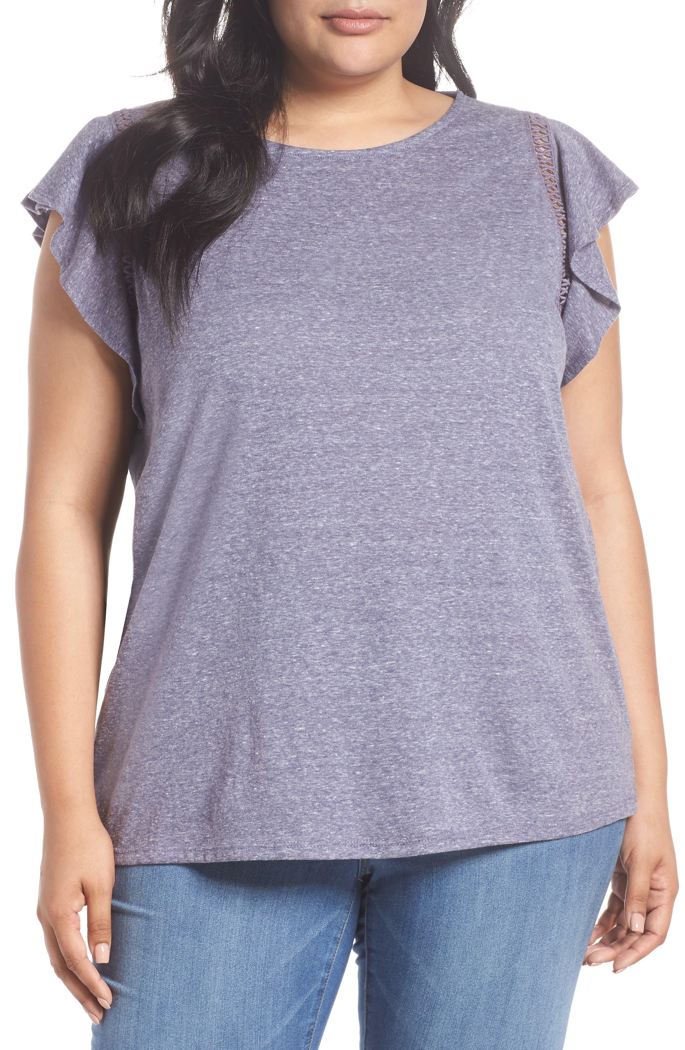 Caslon® Flutter Sleeve Crochet Detail Top (Plus Size)