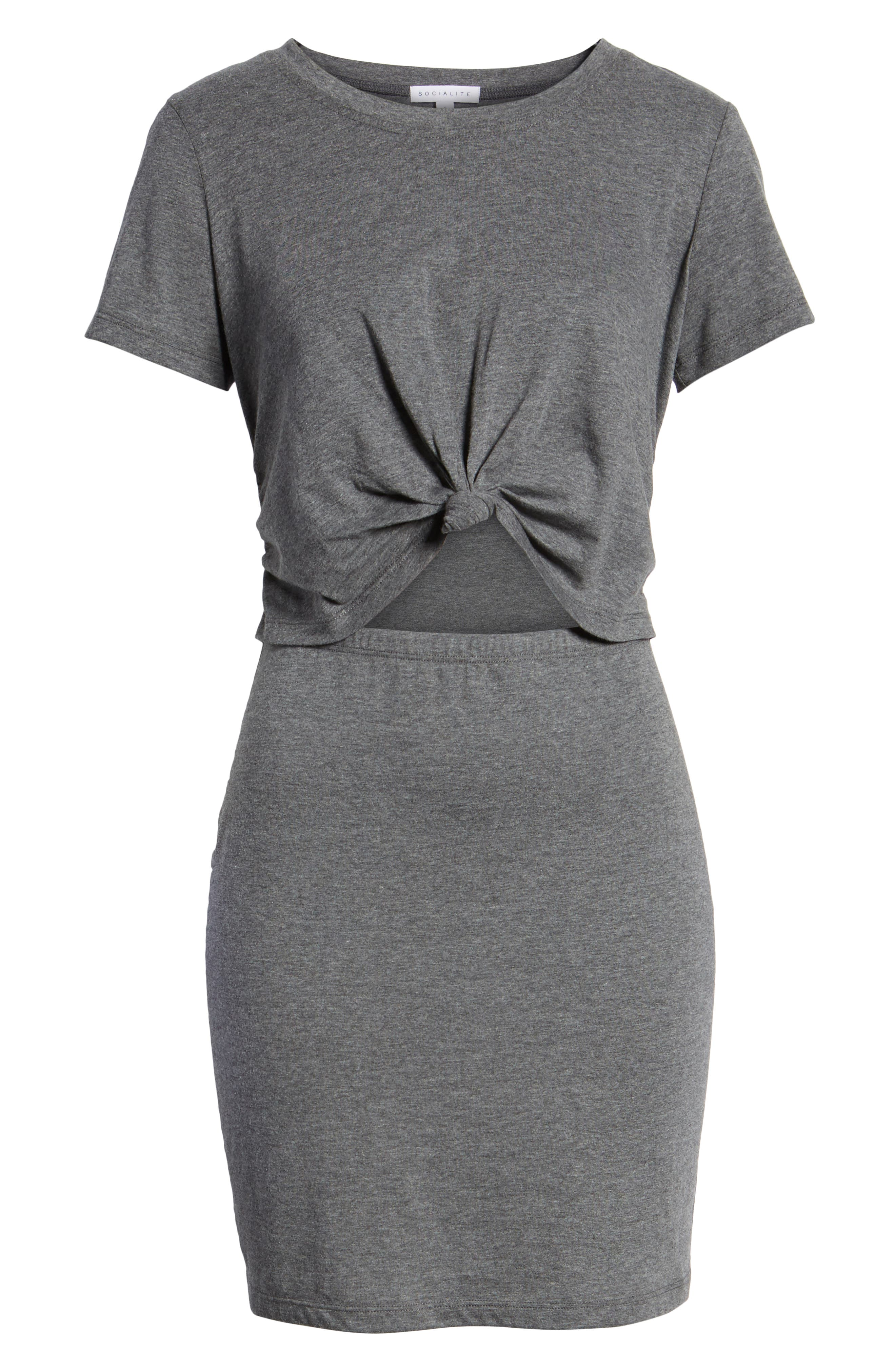 Knot Front Cutout Dress,                             Alternate thumbnail 7, color,                             Heather Grey