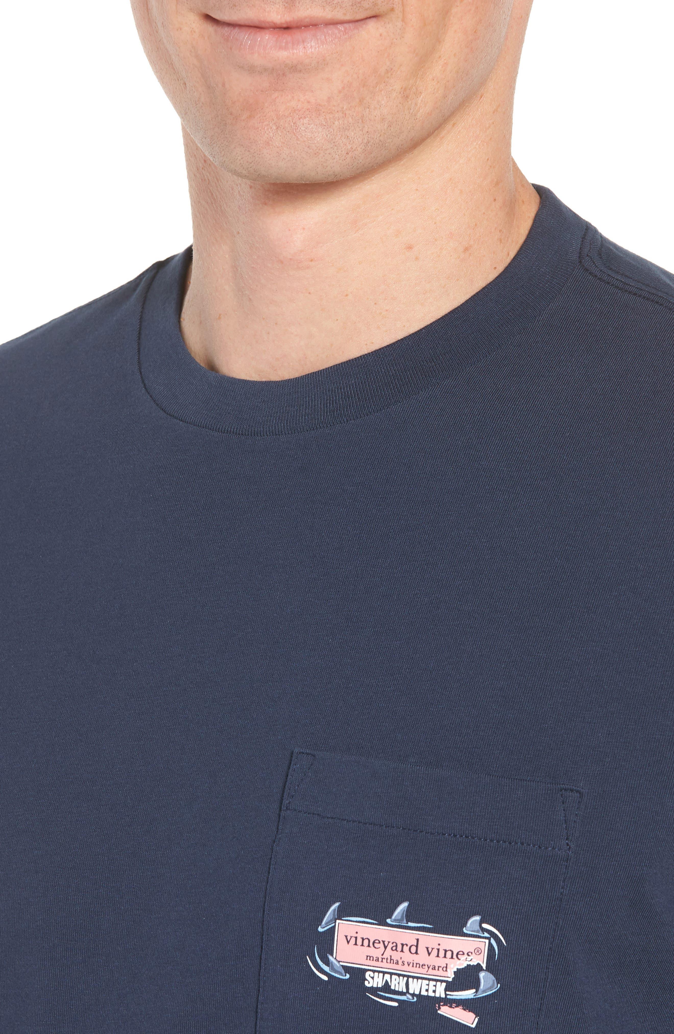 x Shark Week<sup>™</sup> Circling Sharks Pocket T-Shirt,                             Alternate thumbnail 4, color,                             Blue Blazer